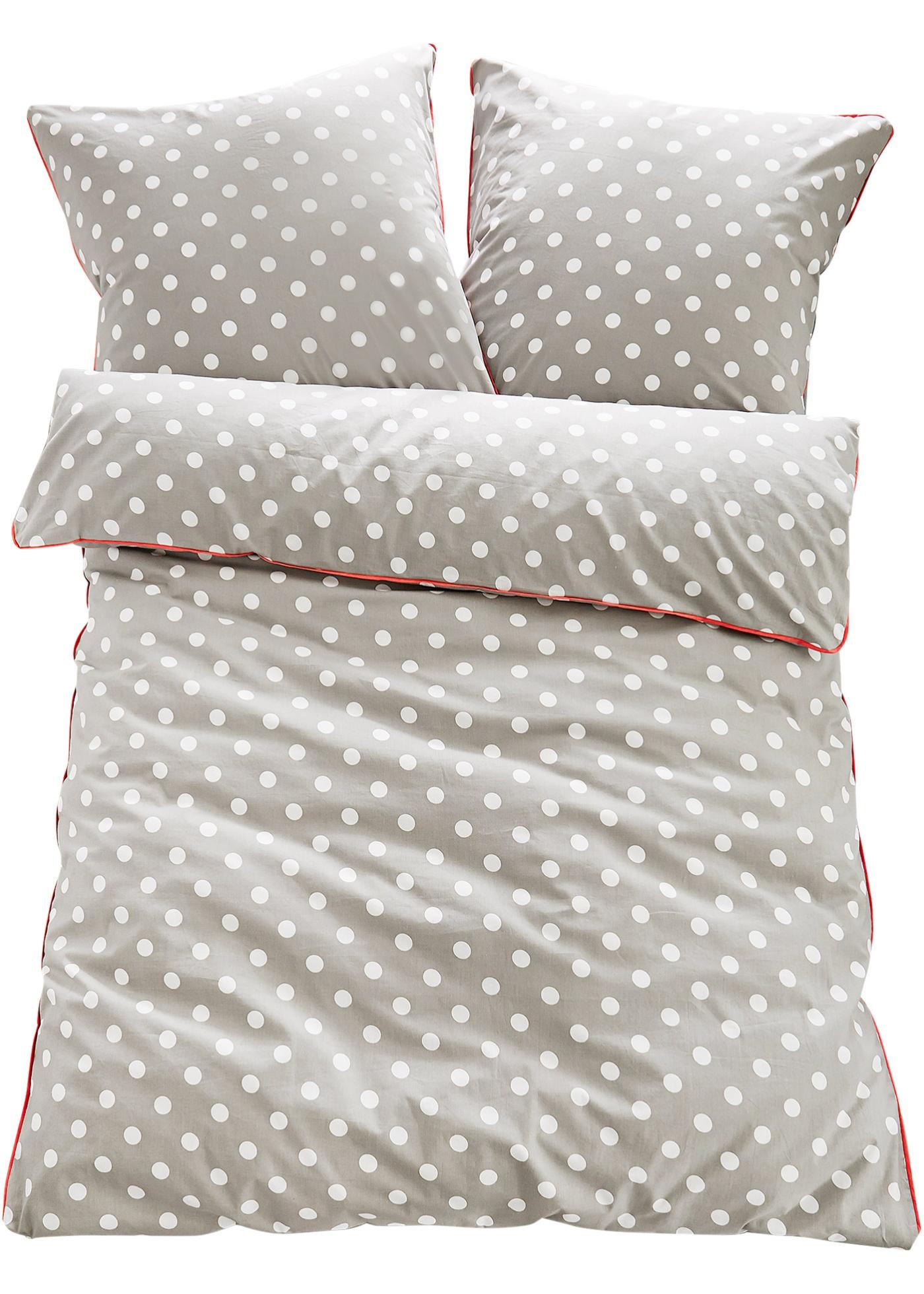 """Linge de lit de qualité supérieure à motif pois. Touche originale : le passepoil contrastant sur la bordure de l""""oreiller et de la couette. Apporte une note de fraîcheur à l""""ambiance de la chambre à coucher. Disponible en parure 2 pces. et 4 pce"""