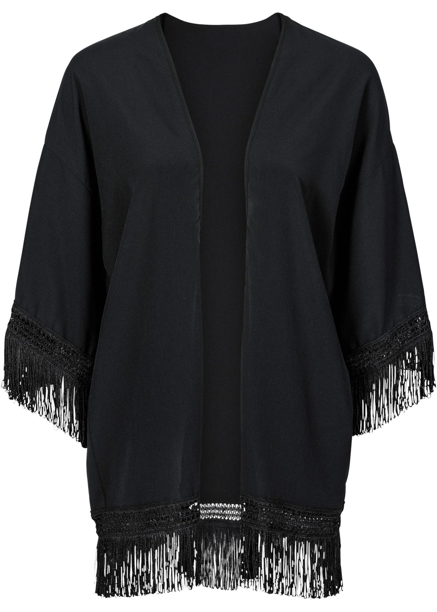 Kimono à franges noir femme - bonprix