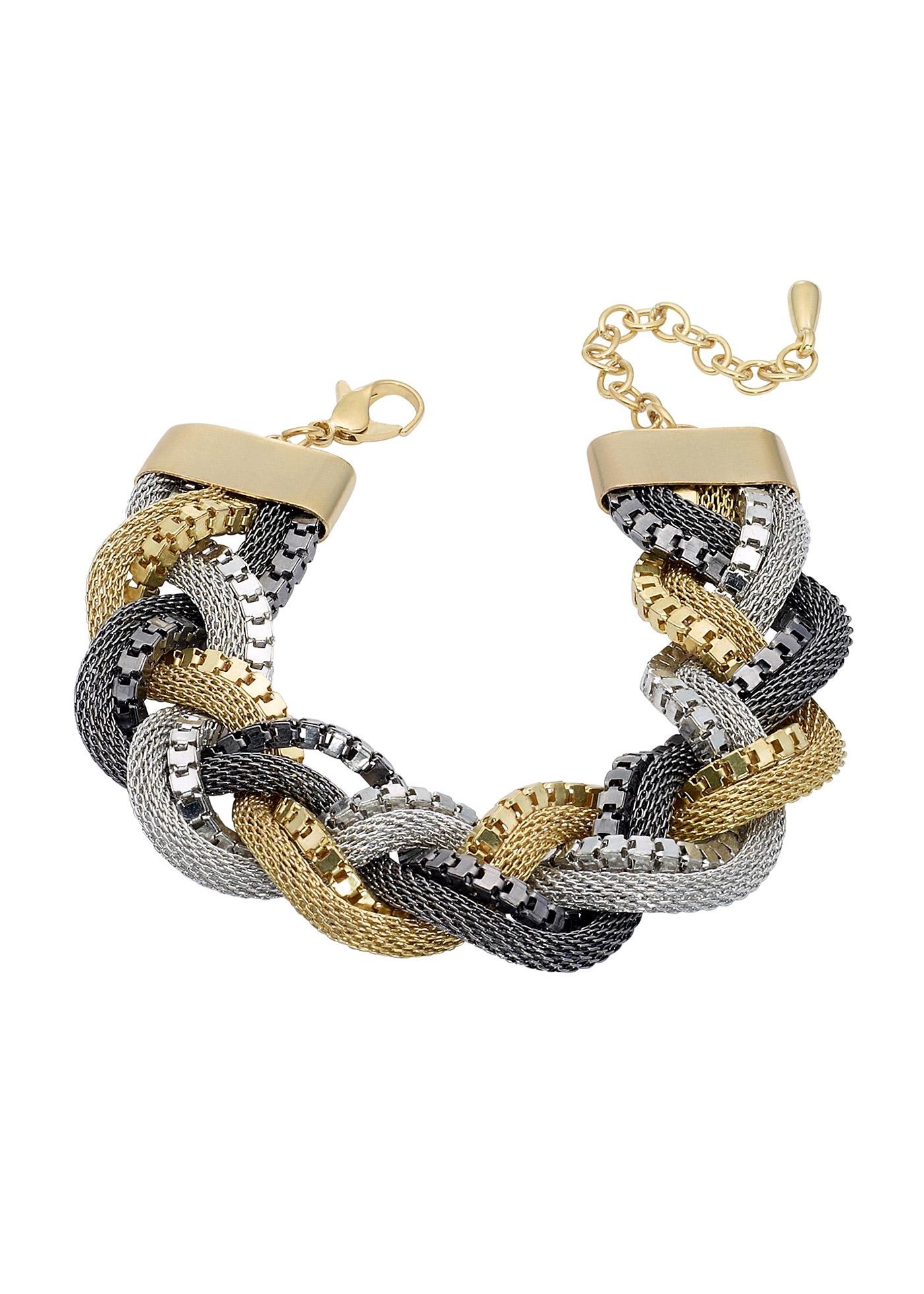 """Le bracelet design assorti au collier tressé de la collection Marcell von Berlin ! Portés ensemble, ces accessoires mode sont tout simplement parfaits pour chaque tenue. La belle qualité du métal, l""""association de couleurs et les différentes chaînett"""