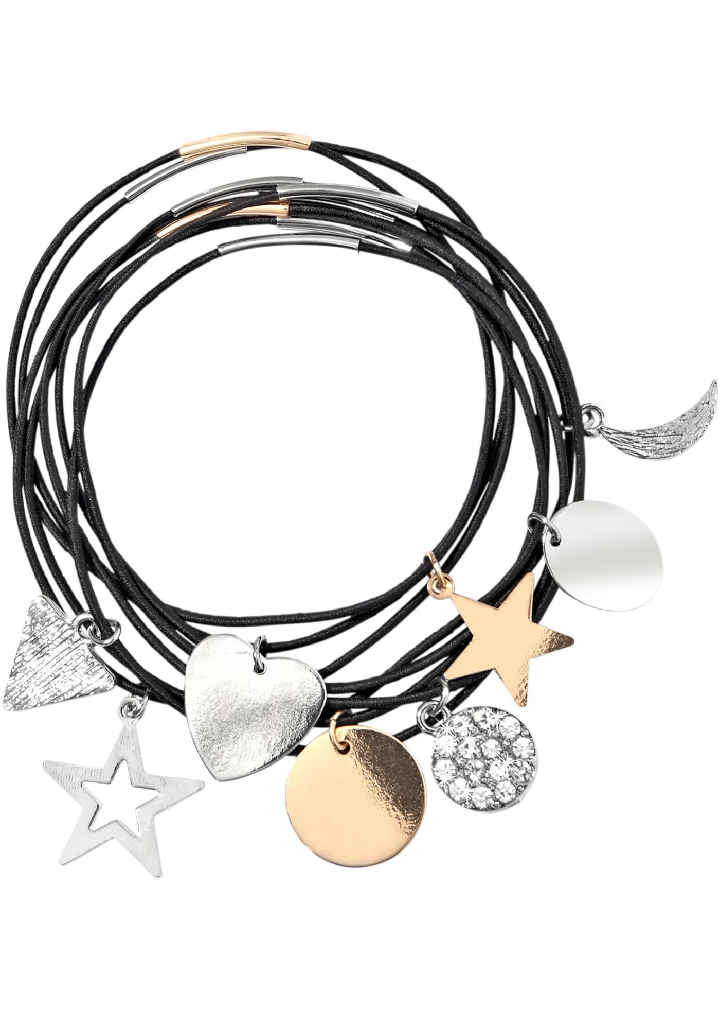Bracelets élastiques, avec breloques. Diamètre env. 18 cm.