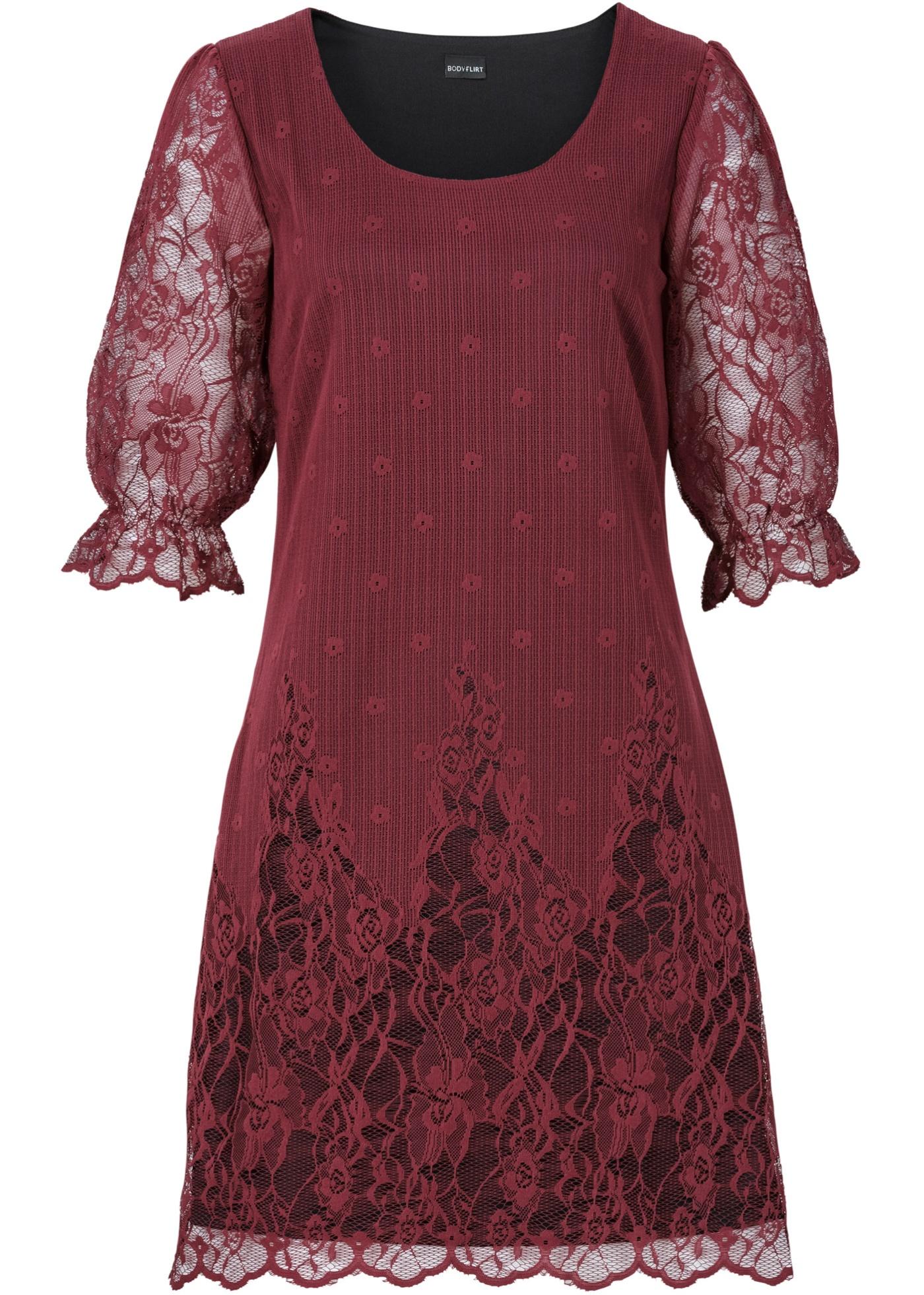 Robe courte rouge manches mi-longues femme -...