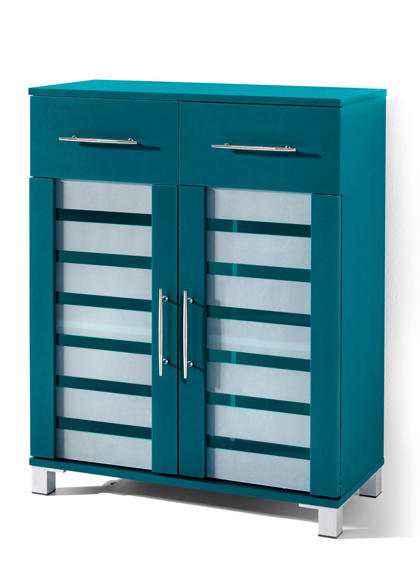 Armoire moderne avec façades vitrées en verre semi-dépoli. Avec 2 portes ouvrant chacune sur une tablette, et 2 tiroirs. Différents coloris au choix. Livraison avec une notice de montage.