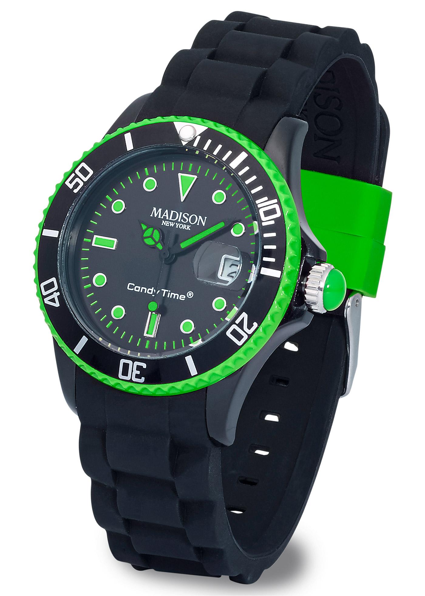 Superbe montre avec bracelet en silicone et touches de couleurs contrastantes ! Affichage des heures, des minutes et des secondes, affichage de la date avec loupe intégrée pour une meilleure visibilité. Bracelet en silicone confortable. Boîtier en polycar