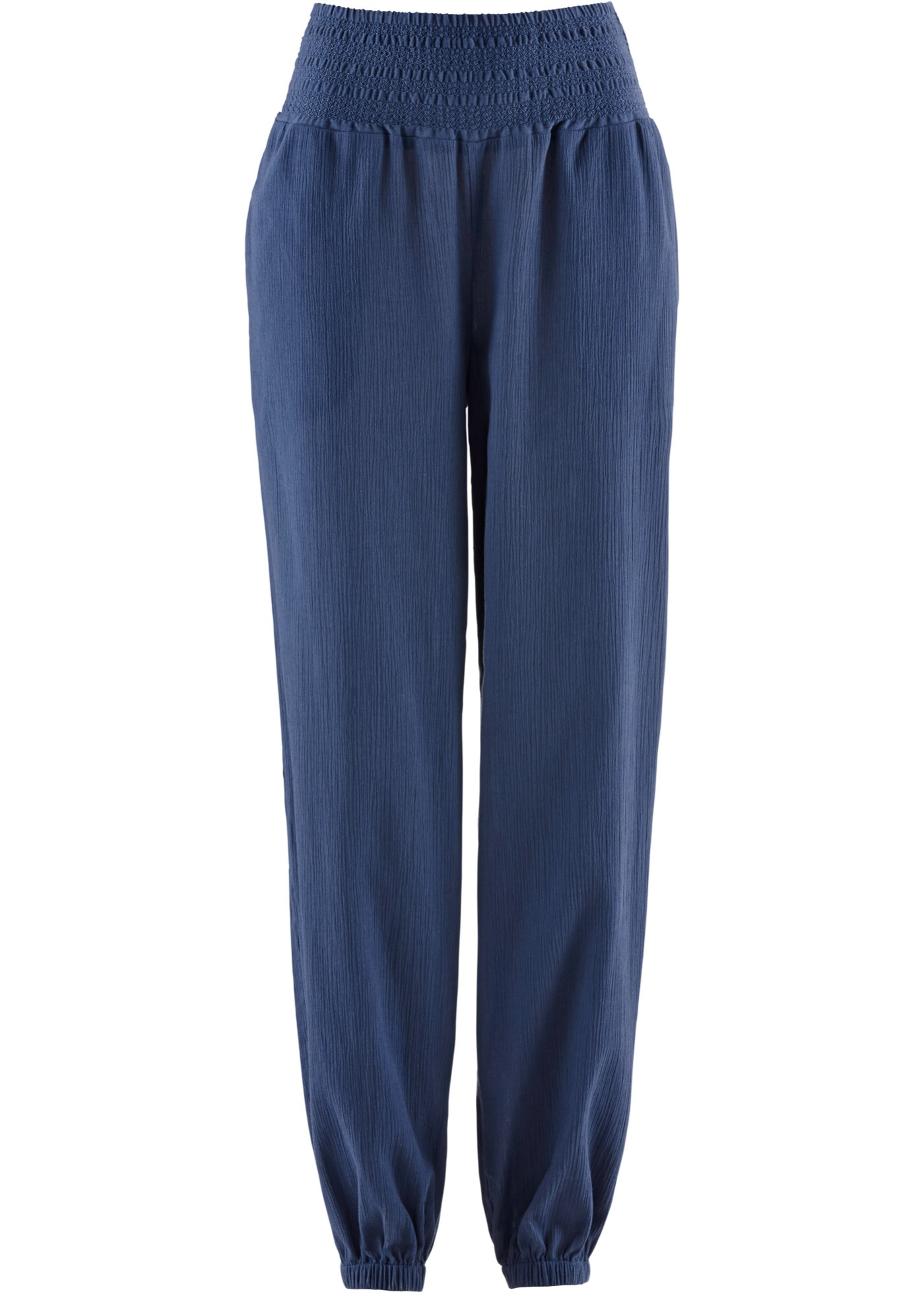 Pantalon sarouel froissé bleu femme - bonprix