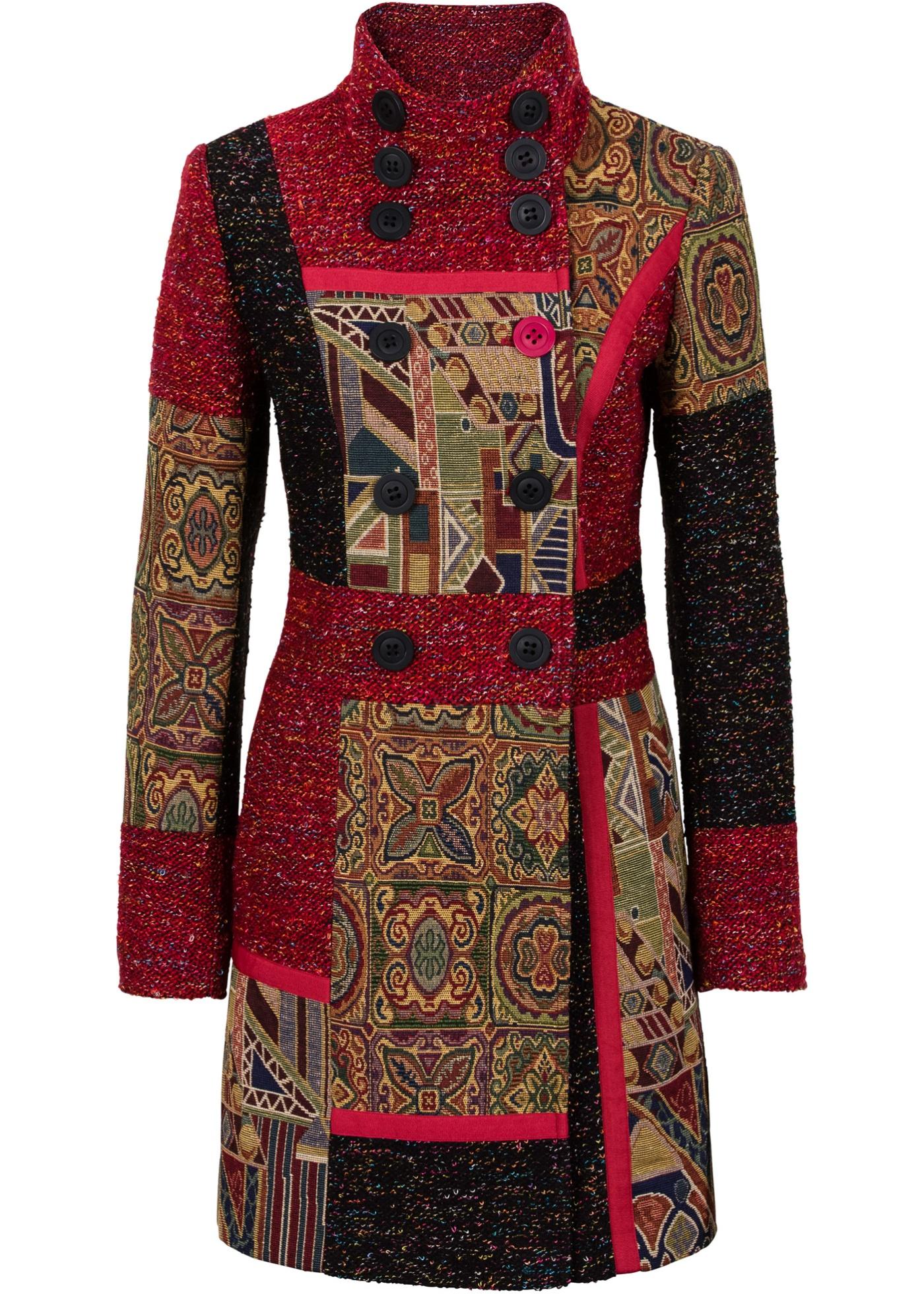 Manteau multi-mati?re et motif