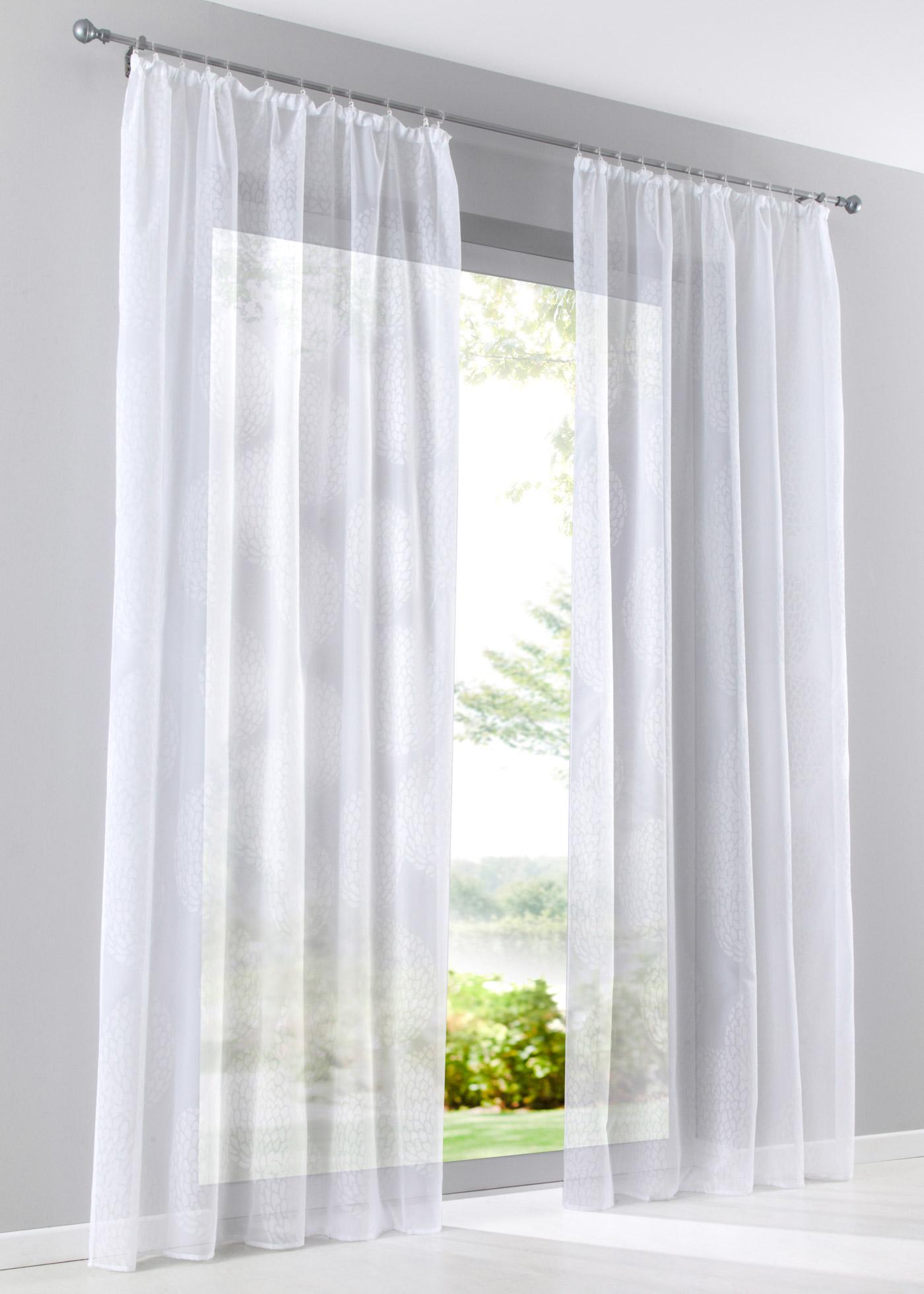 """Voilage transparent, recto imprimé, prêt à poser, accrochage par galon fronceur, dimensions = dimensions du tissu (env. hauteur/largeur), lavable et facile d""""entretien."""