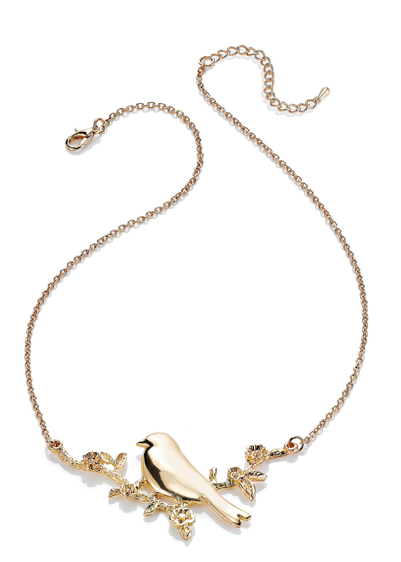 """Collier Birdy de la collection Rainbow aux accents bucoliques, chaîne de style classique soulignée d""""un ravissant oiseau, l""""idéal pour twister votre tenue !"""