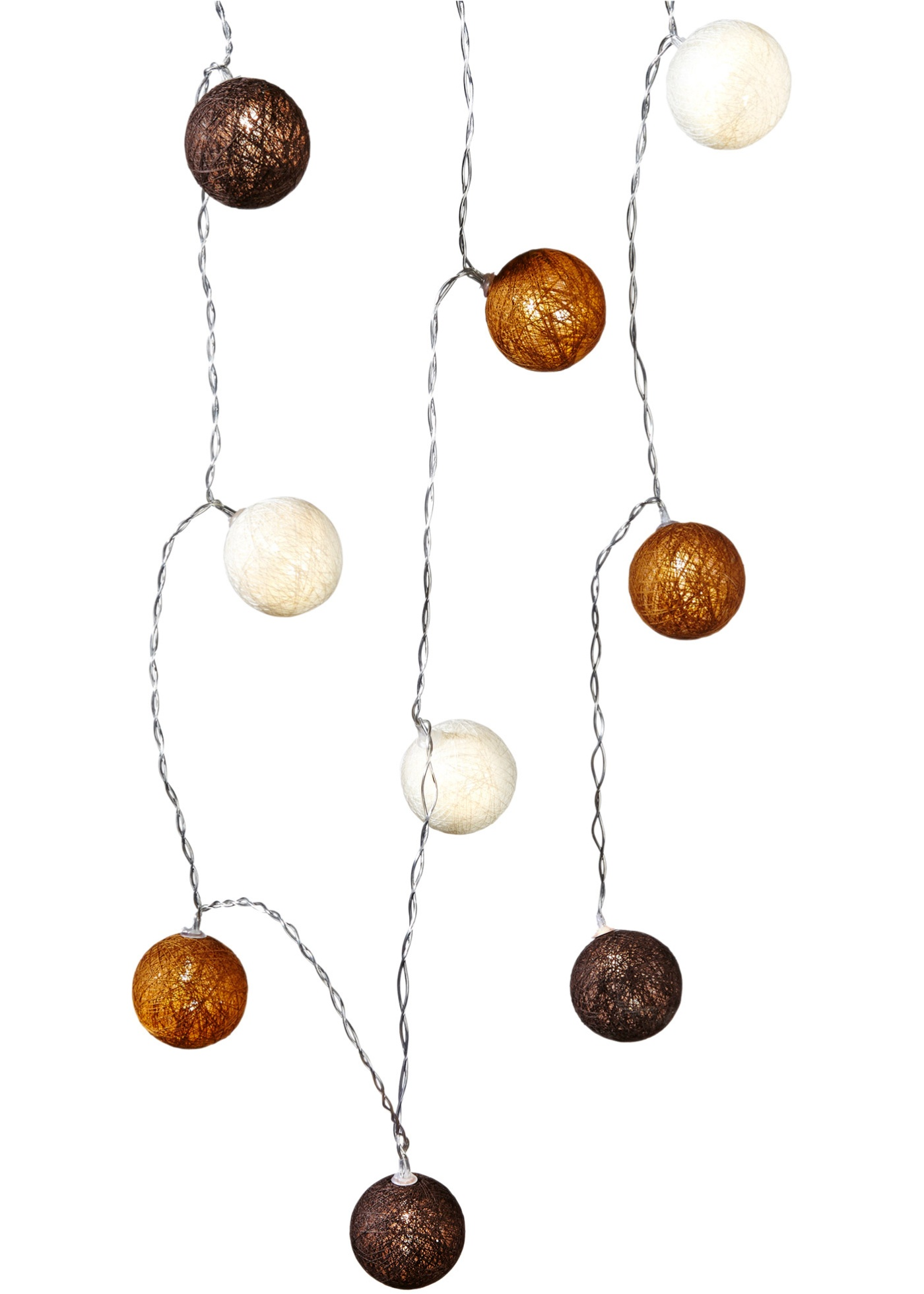 Guirlande lumineuse à LED Cotton Balls, marron