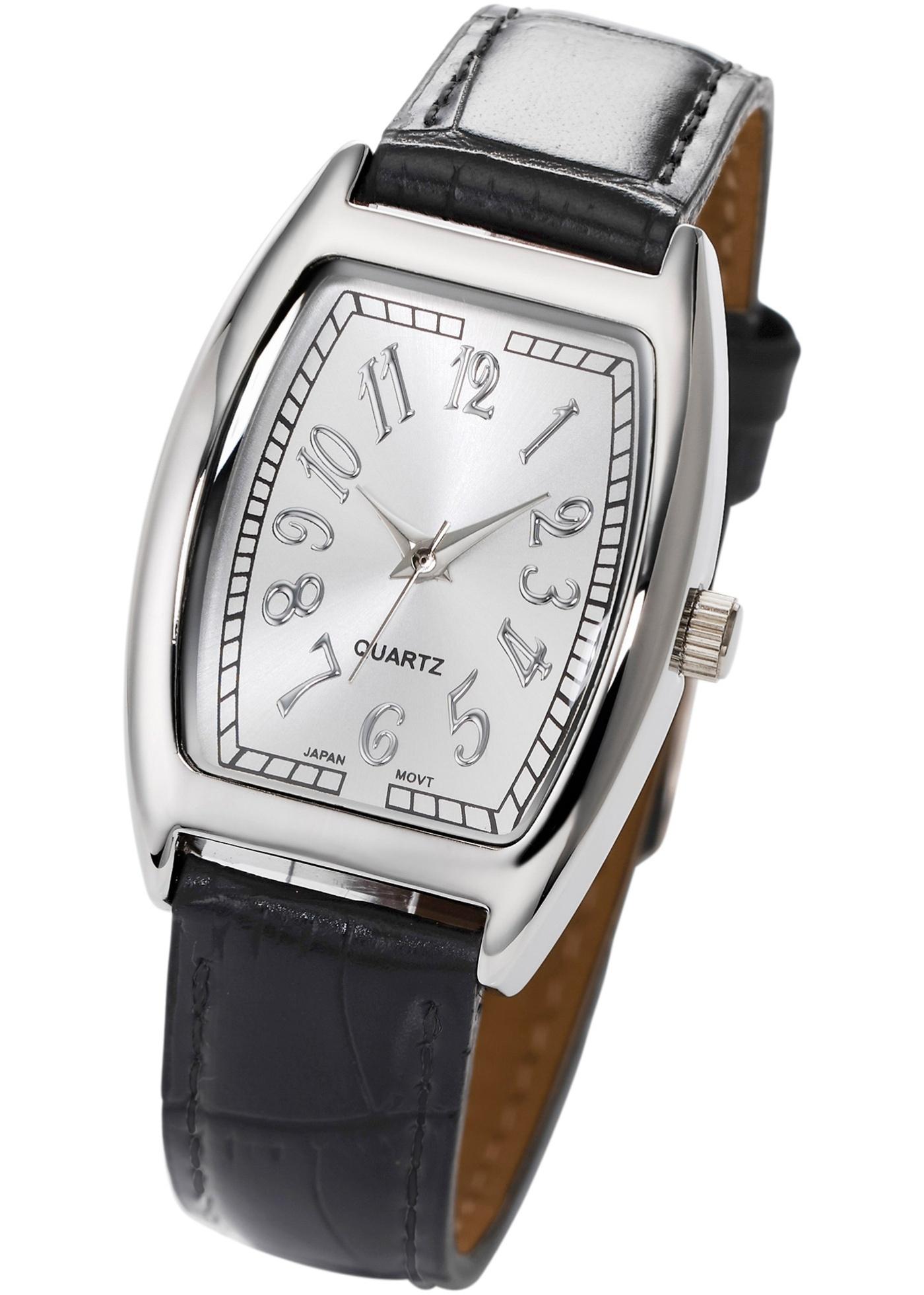 Cadran classique avec chiffres insolites et bracelet en imitation cuir croco pour un style original.