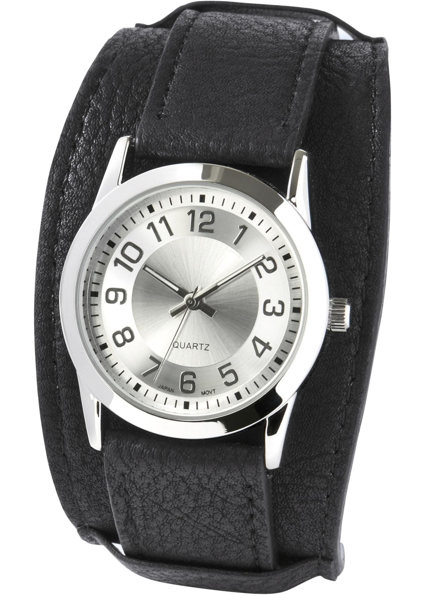 Montre à bracelet large style double épaisseur avec cadran moderne.