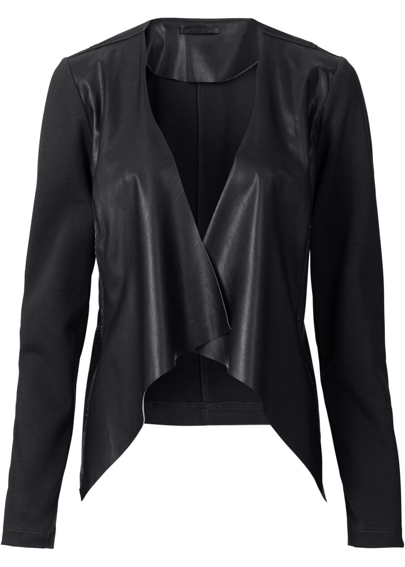 Blazer synthétique imitation cuir noir manches...