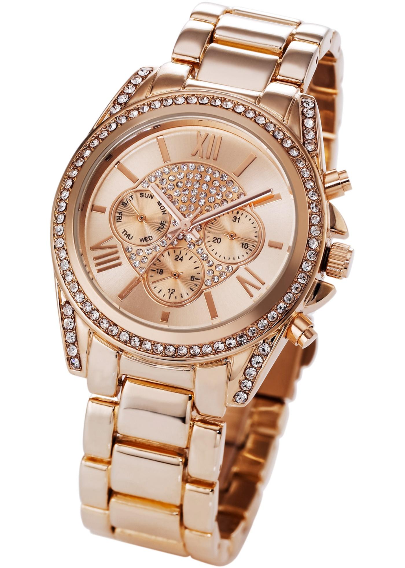 """Cette montre avec bracelet en métal de BODYFLIRT rehausse n""""importe quel look ! Les strass autour du boîtier et sur le cadran apportent une note glamour. Parfaite pour le bureau ou pour une soirée. Prix comprenant éco-participation (F) = 0,01 € ou re"""
