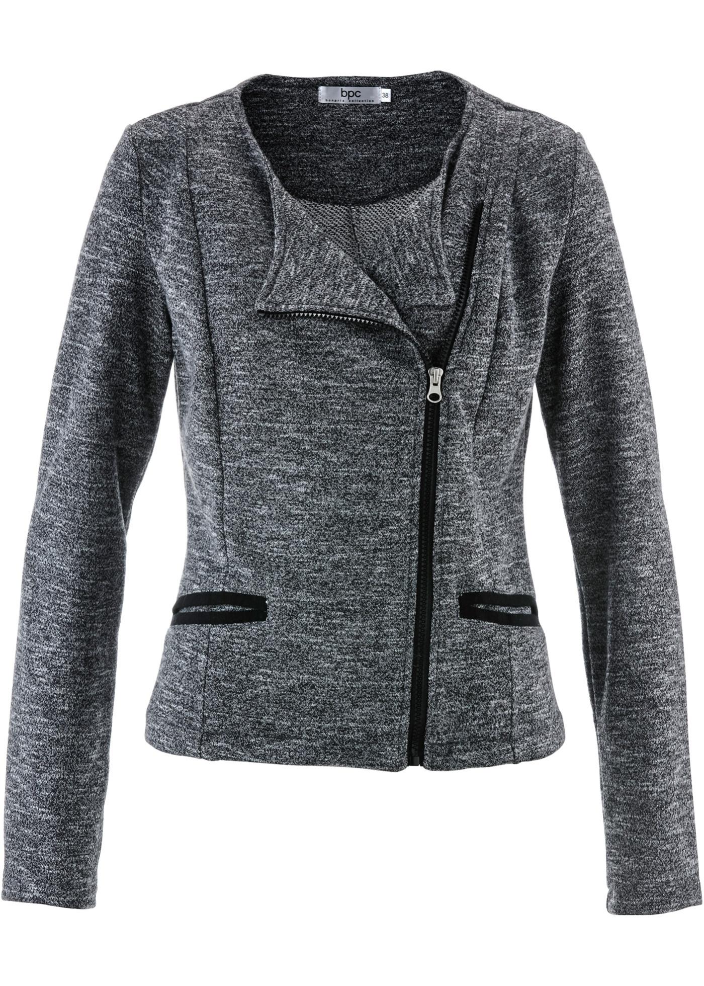 Veste sweat-shirt gris manches longues femme -...