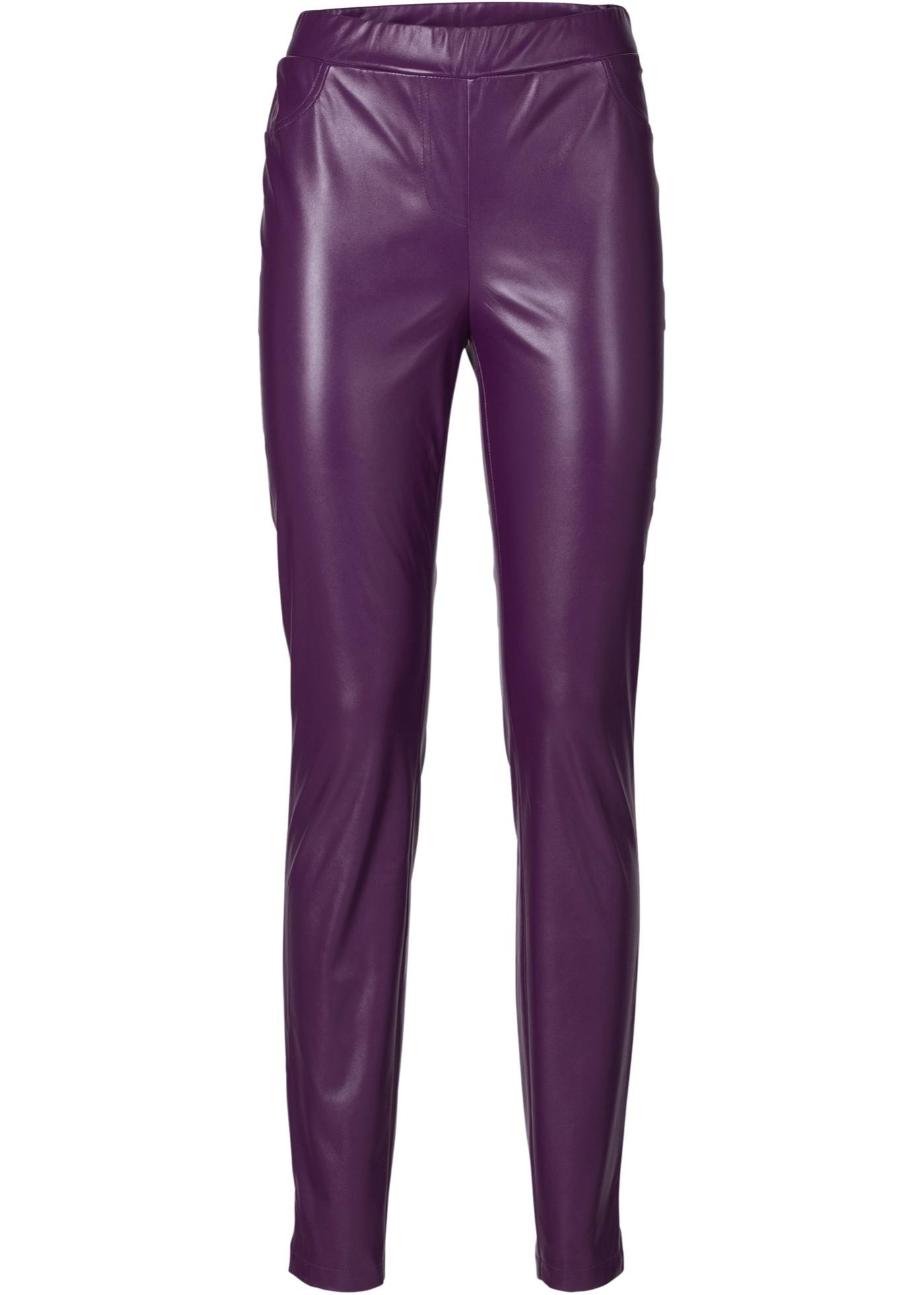 Pantalon synthétique imitation cuir violet...