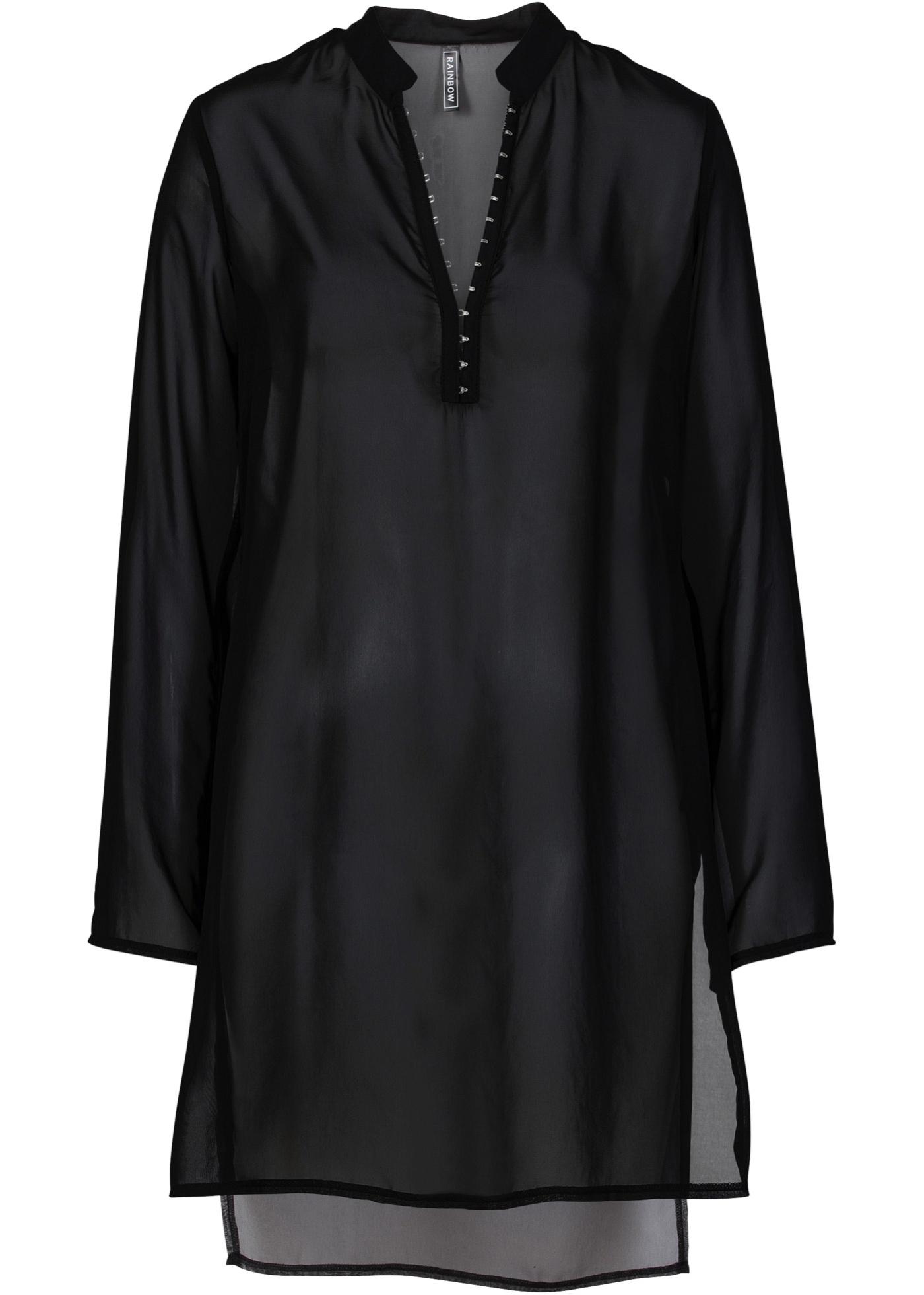 Blouse-tunique noir manches longues femme -...