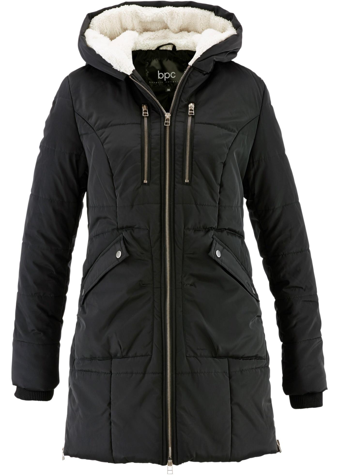 Manteau avec capuche doublée noir femme - bonprix