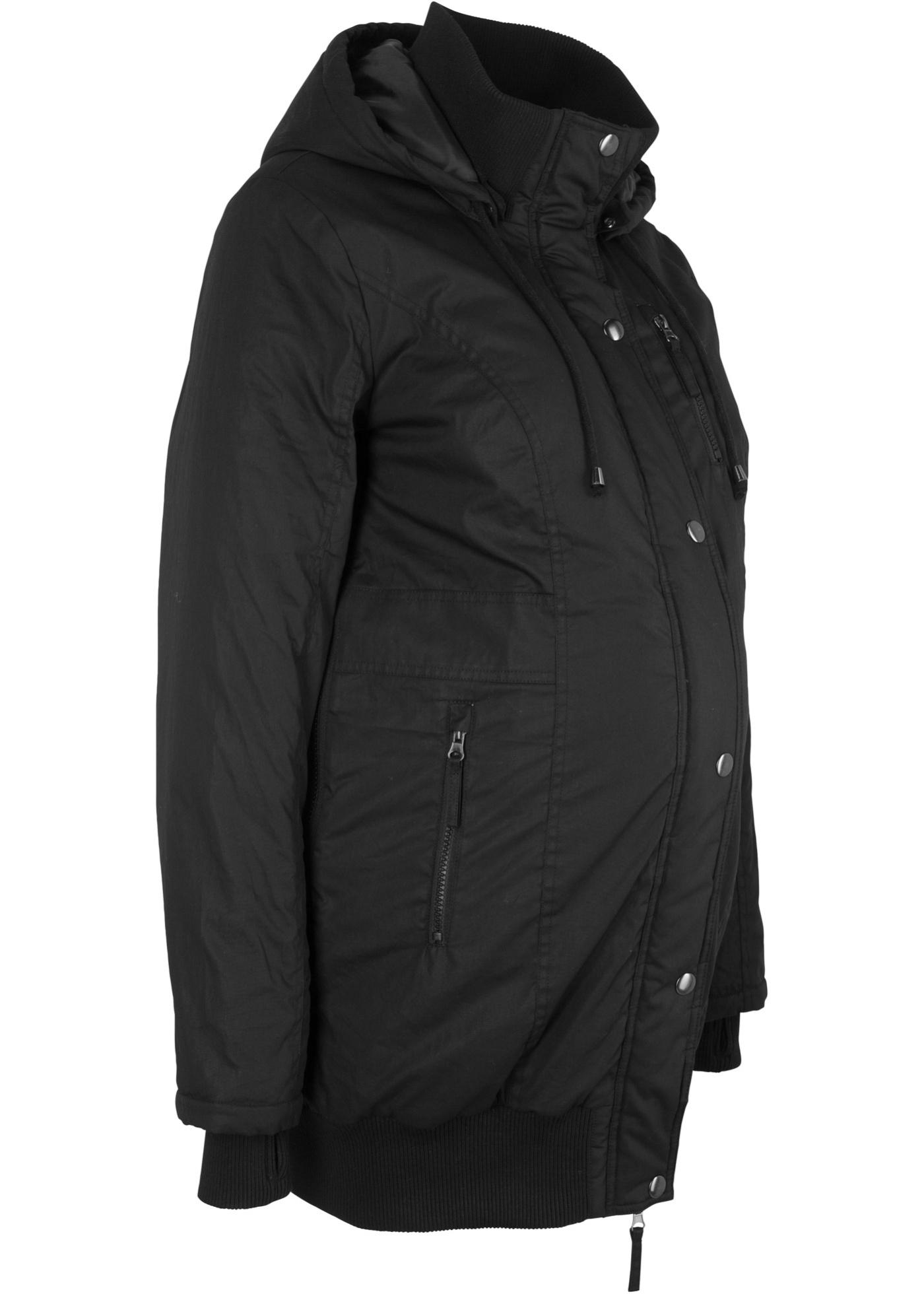 Manteau de grossesse avec capuche et bord-côtes