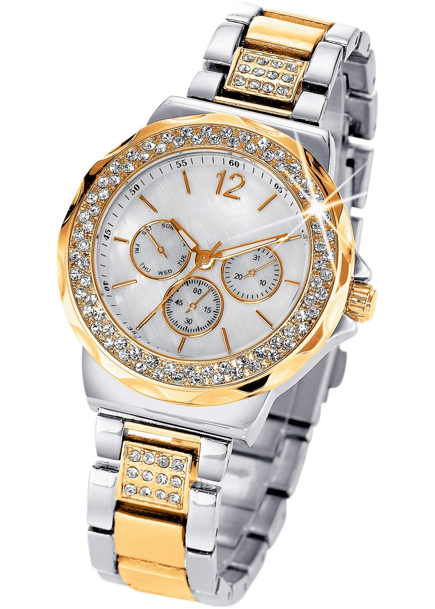"""Montre luxueuse pour femme avec boîtier orné d""""éclats de strass, cadran nacré, style chrono. Diam. boîtier env. 3,8 cm, larg. bracelet env. 1,7 cm. Prix comprenant éco-participation (F) = 0,01 € ou recupel (B) = 0,05 €. Métal."""