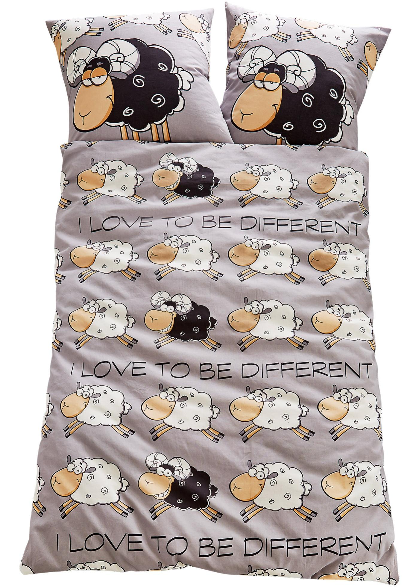 """Love to be different ! Avec ce linge de lit, compter les moutons avant de s""""endormir devient plus amusant. Disponible en différentes qualités et en parure 2 ou 4 pces."""