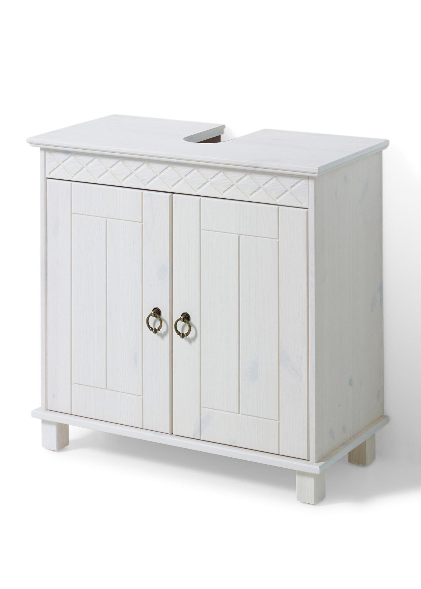 Meuble sous-lavabo rustique de style intemporel avec 2 portes et 1 tablette réglable. Les portes sont dotées de poignées à anneaux originales. Meuble lasuré pour garder la structure du bois apparente. Livraison avec une notice de montage.