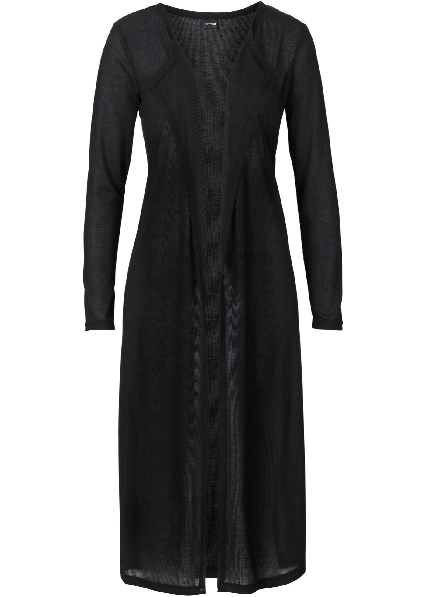 Cardigan long noir manches longues femme - bonprix