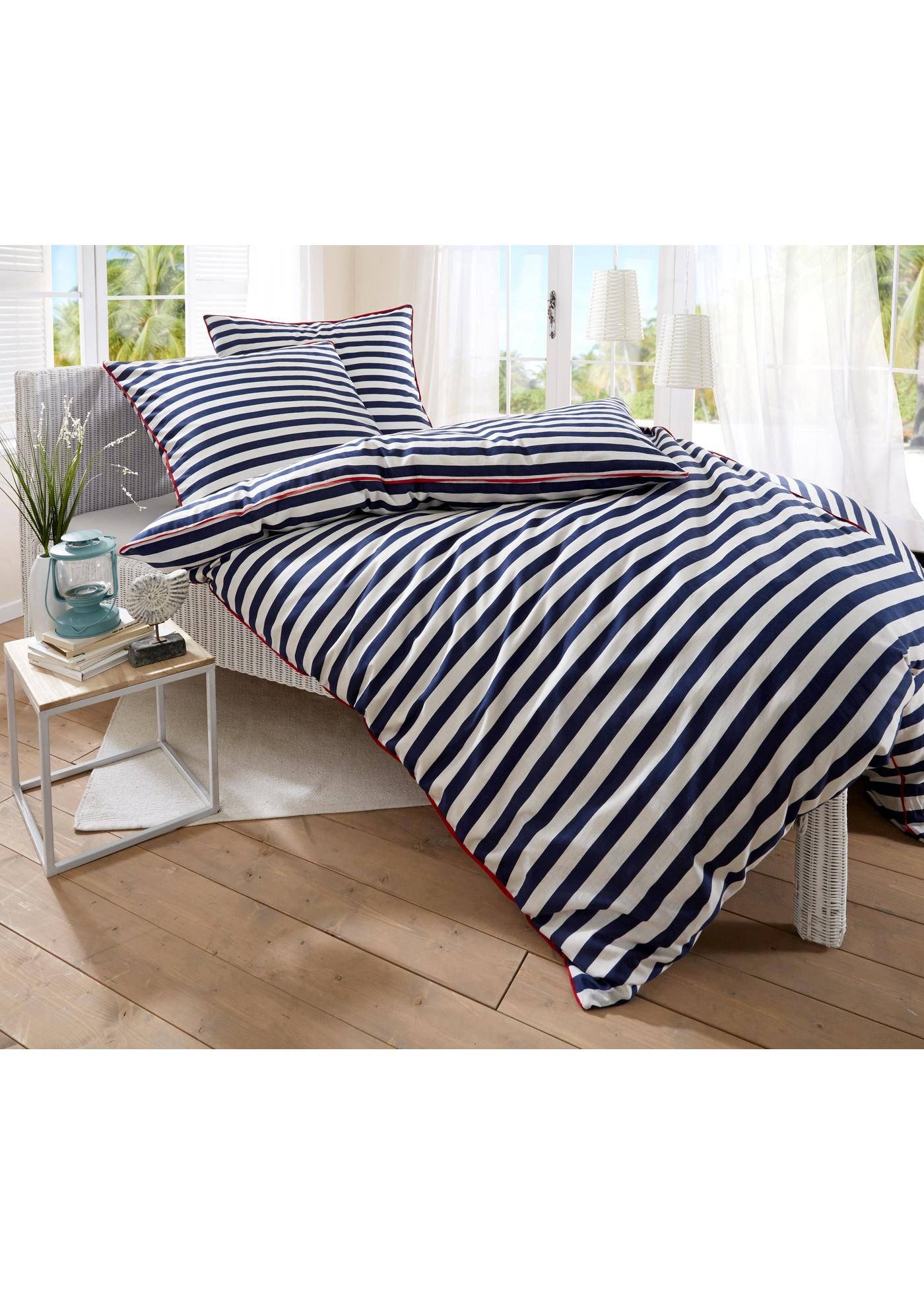 Linge de lit rayé avec jolie finition passepoilée contrastante. Disponible en parure 2 ou 4 pces. et en tissage renforcé en coton de qualité supérieure.