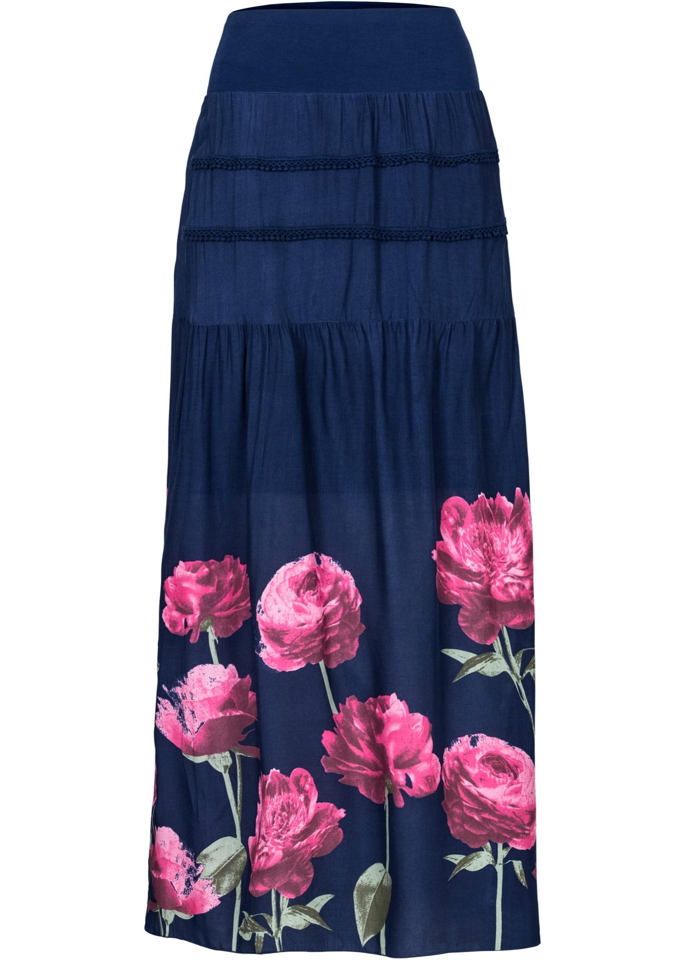 Jupe longue bleu femme - bonprix