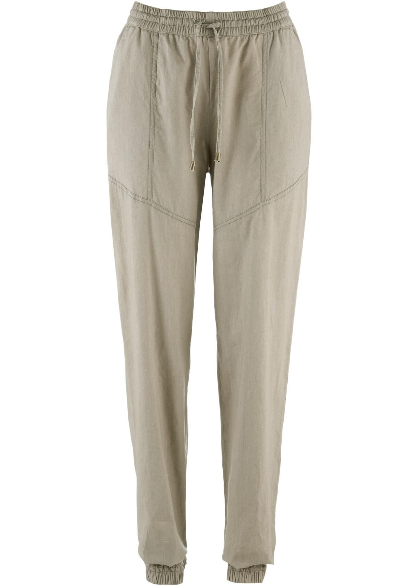 Pantalon sarouel en lin gris femme - bonprix