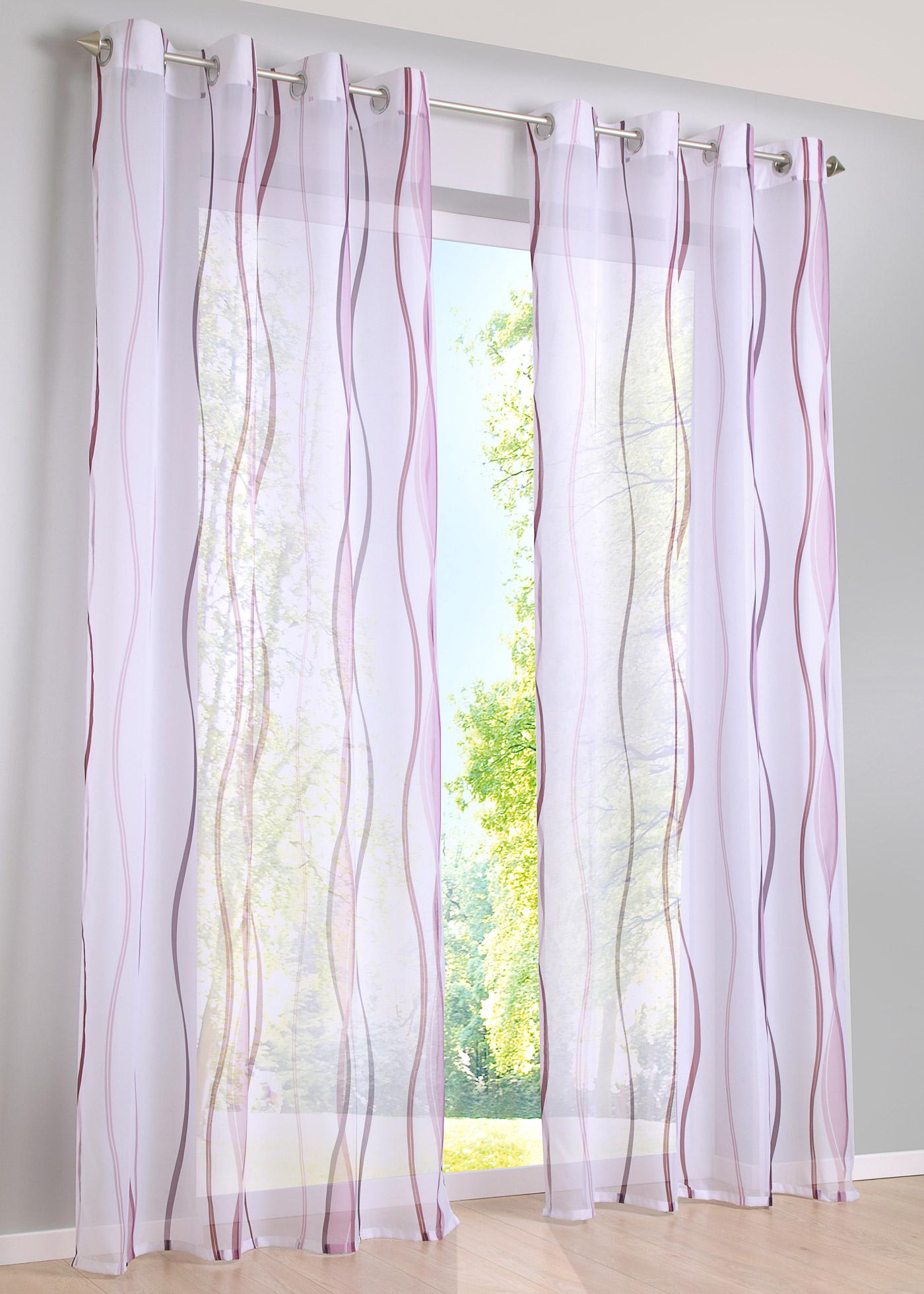Modèle en voile crème avec rayures colorées, transparent, lavage possible. 100% polyester. Dimensions = dimensions du tissu (env. hauteur/largeur).