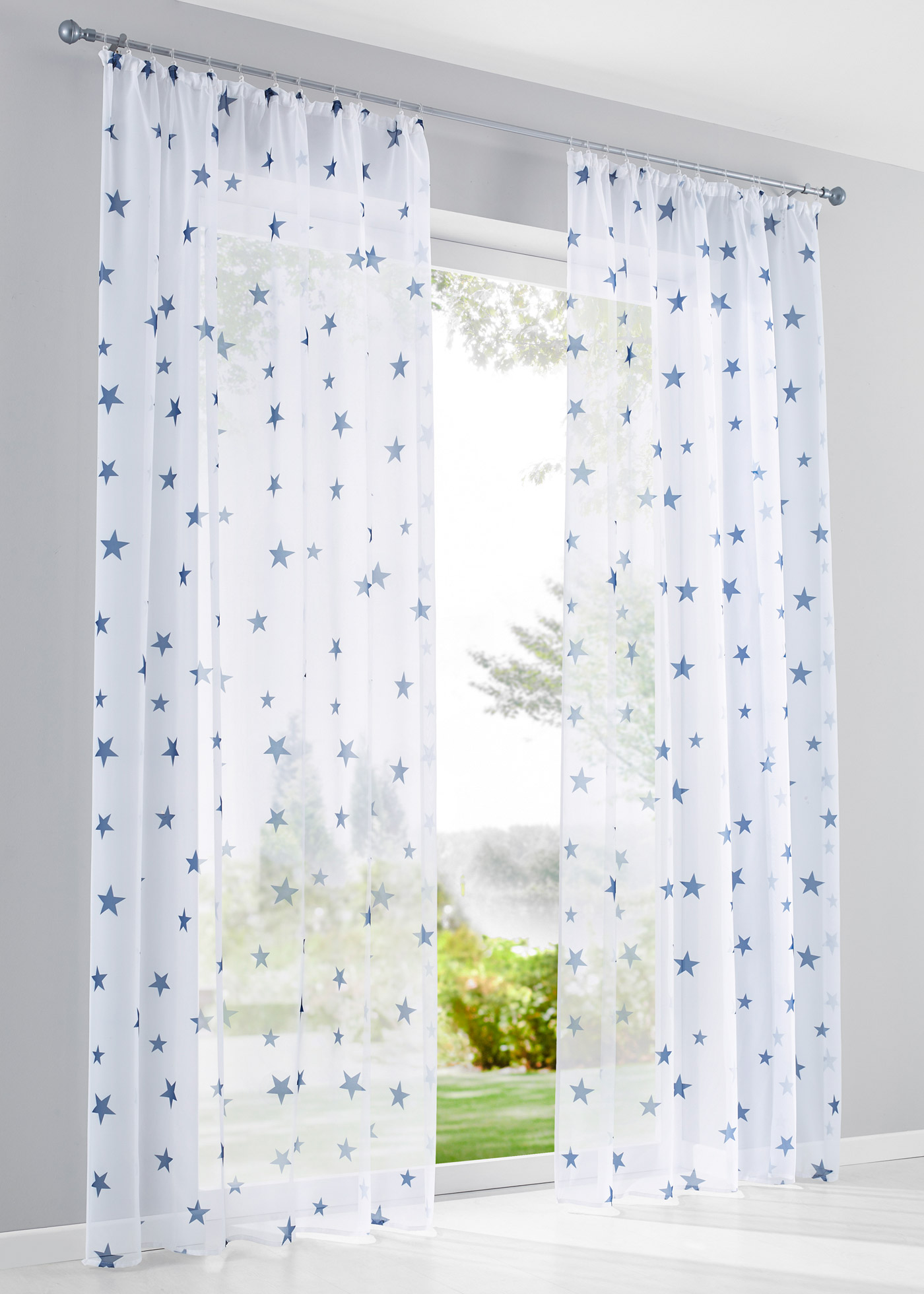 """Voilage transparent avec motifs étoiles modernes, accrochage par galon fronceur ou œillets, dimensions = dimensions du tissu, lavable et facile d""""entretien."""