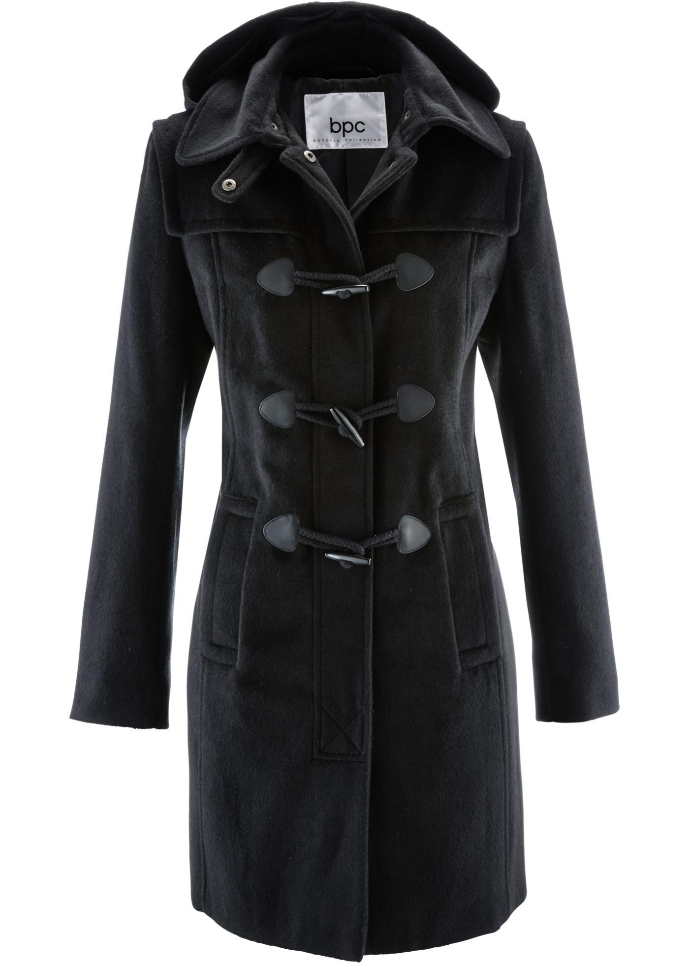 Manteau à capuche noir manches longues femme -...