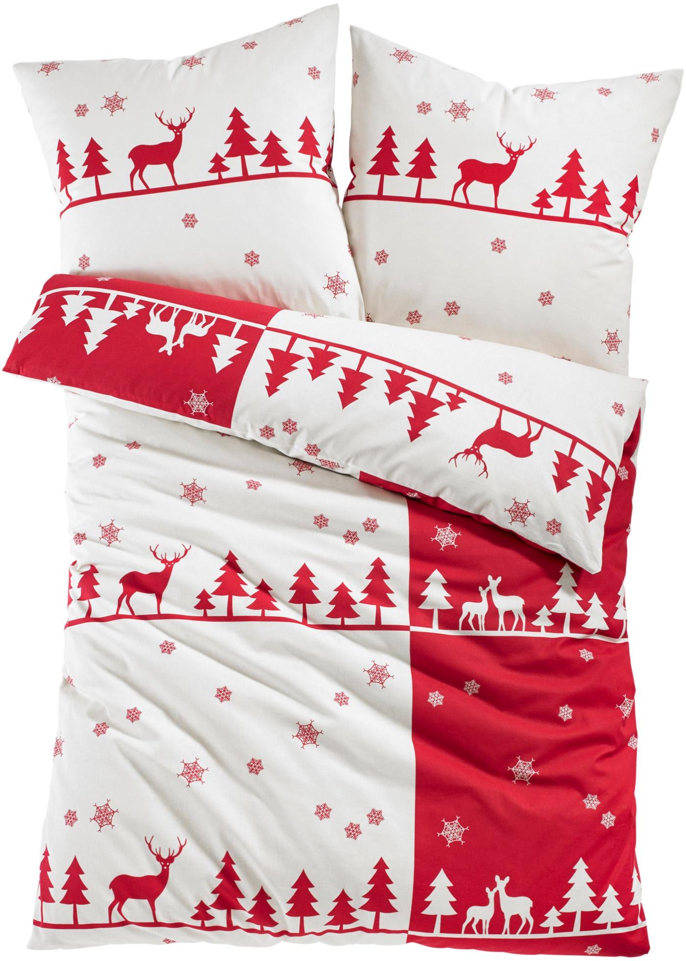 Cette douce parure de lit imprimée à motifs élans et sapins crée une belle ambiance de Noël. Plusieurs coloris et différentes qualités au choix. Disponible en parure 2 ou 4 pces et en taille supérieure XXL.