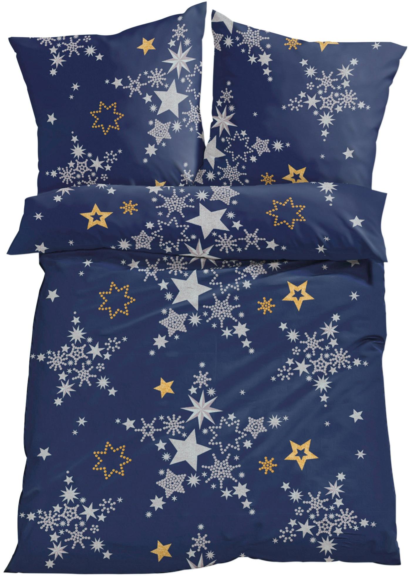 """L""""imprimé étoile vous promet de beaux rêves. Linge de lit proposé en fine flanelle douce ou en linon. Disponible en parure 2 ou 4 pces."""
