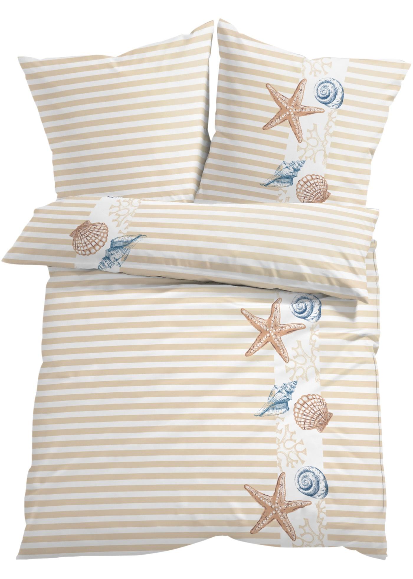 Linge de lit élégant combinant de jolis motifs marins et des rayures fines. Différentes couleurs et matières au choix.