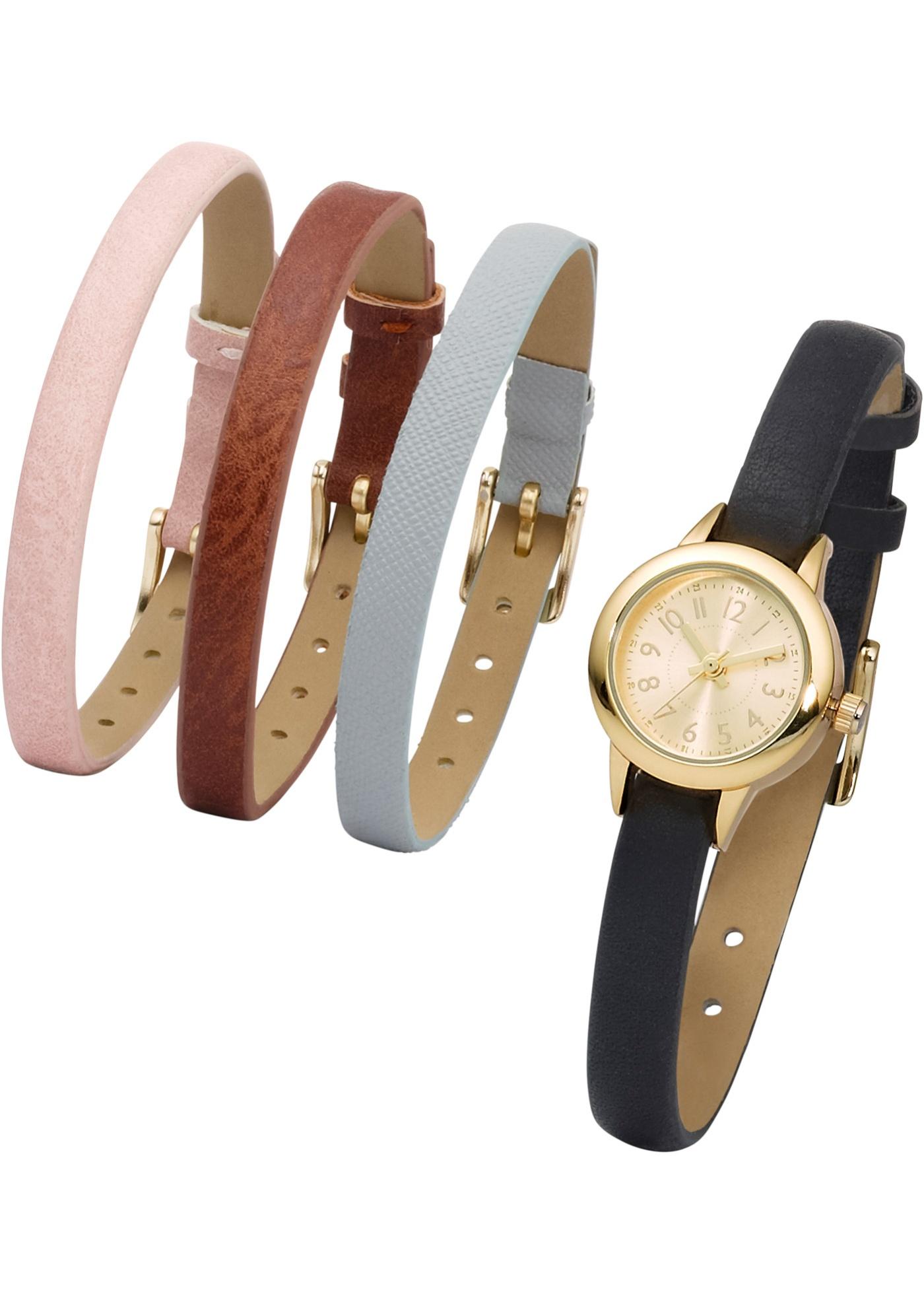 Montre avec 4 bracelets interchangeables