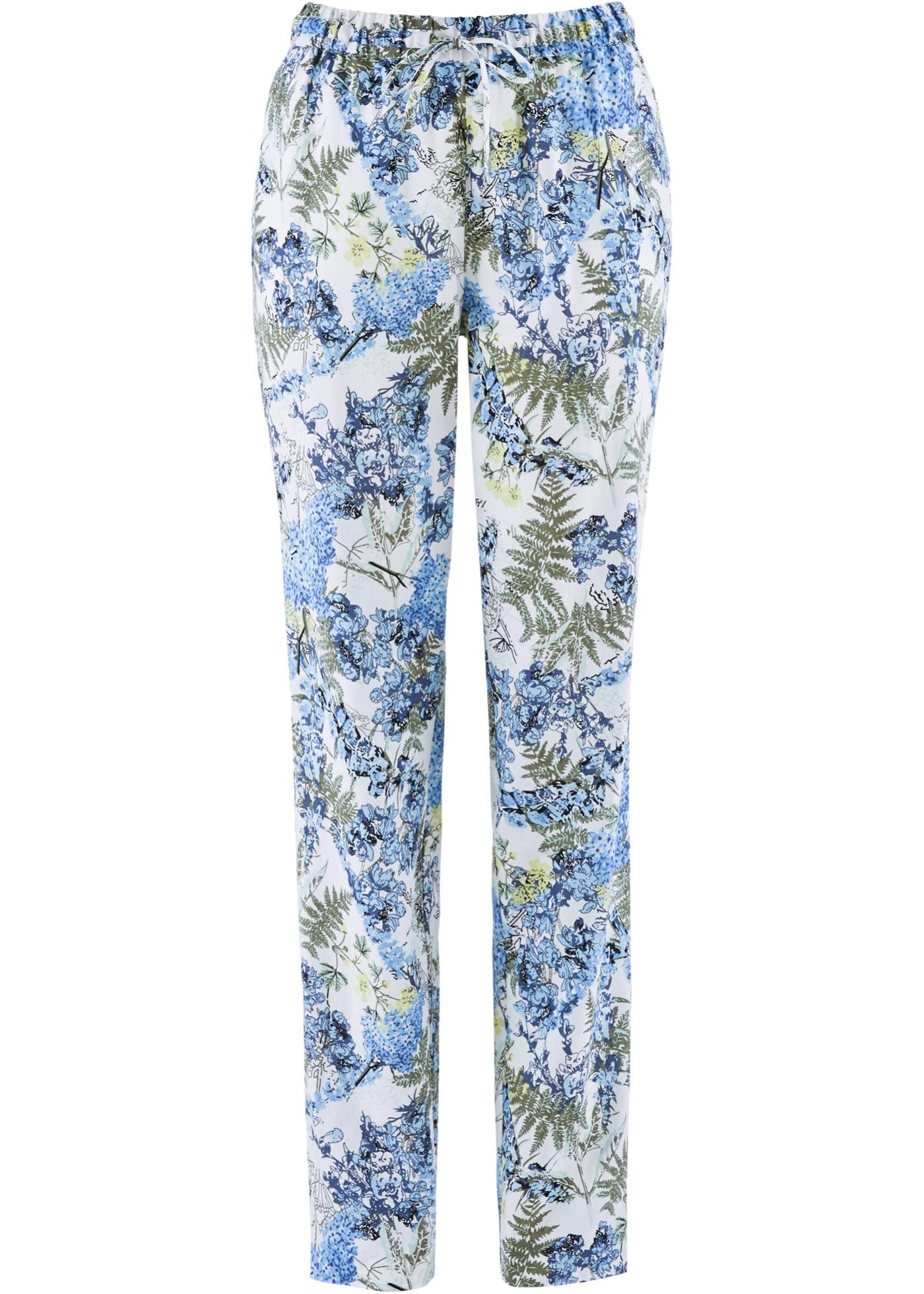 Pantalon en lin avec imprimé à fleurs