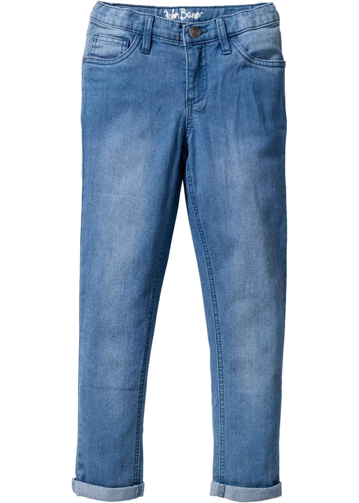 """Jean must-have pour les filles en style 5 poches avec légers effets usés. Pourcentage d""""élasthanne pour un bon confort. Tour de taille réglable jusqu""""au 170."""