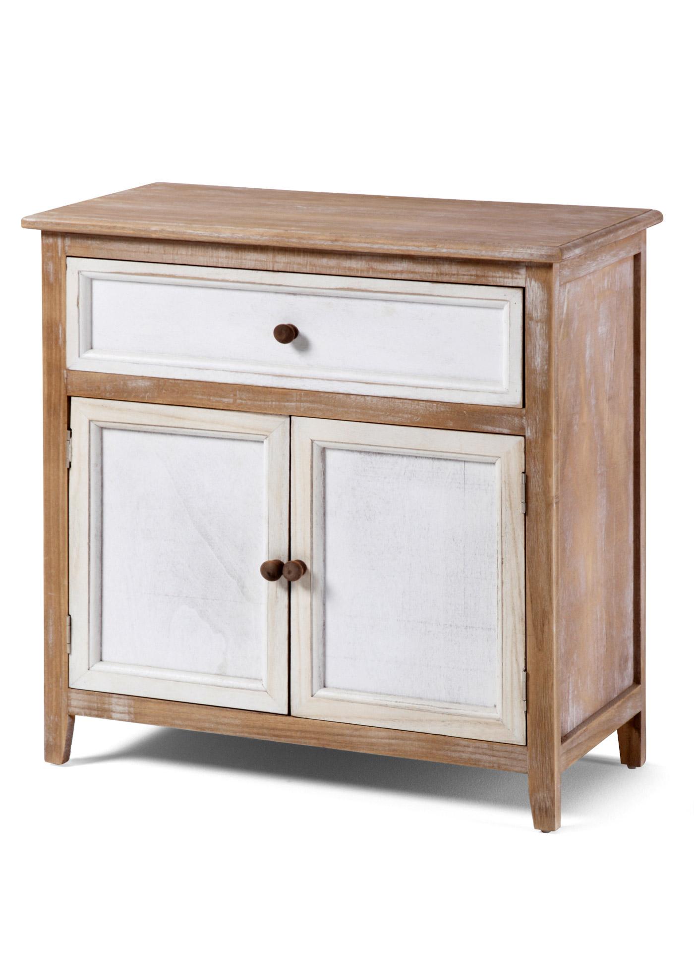 """Commode bicolore avec cadre d""""aspect patiné du plus bel effet. Elle dispose d""""un grand tiroir et 2 portes ouvrant sur un grand compartiment offrant beaucoup de place pour vos affaires. Article livré monté."""