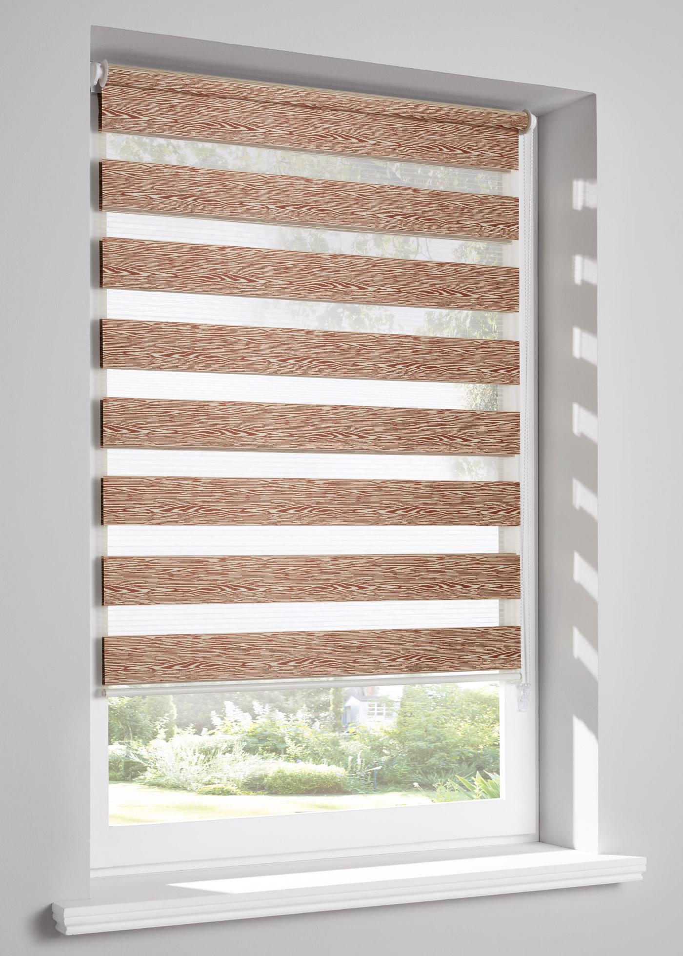 """Store double effet bois, pose facile avec supports de fixation à clipser directement sur le cadre de la fenêtre (épaisseur de châssis jusqu""""à 1,6cm), sans perçage, cordon sur la droite, deux bandes de tissu se superposent ou juxtaposent pour obtenir"""
