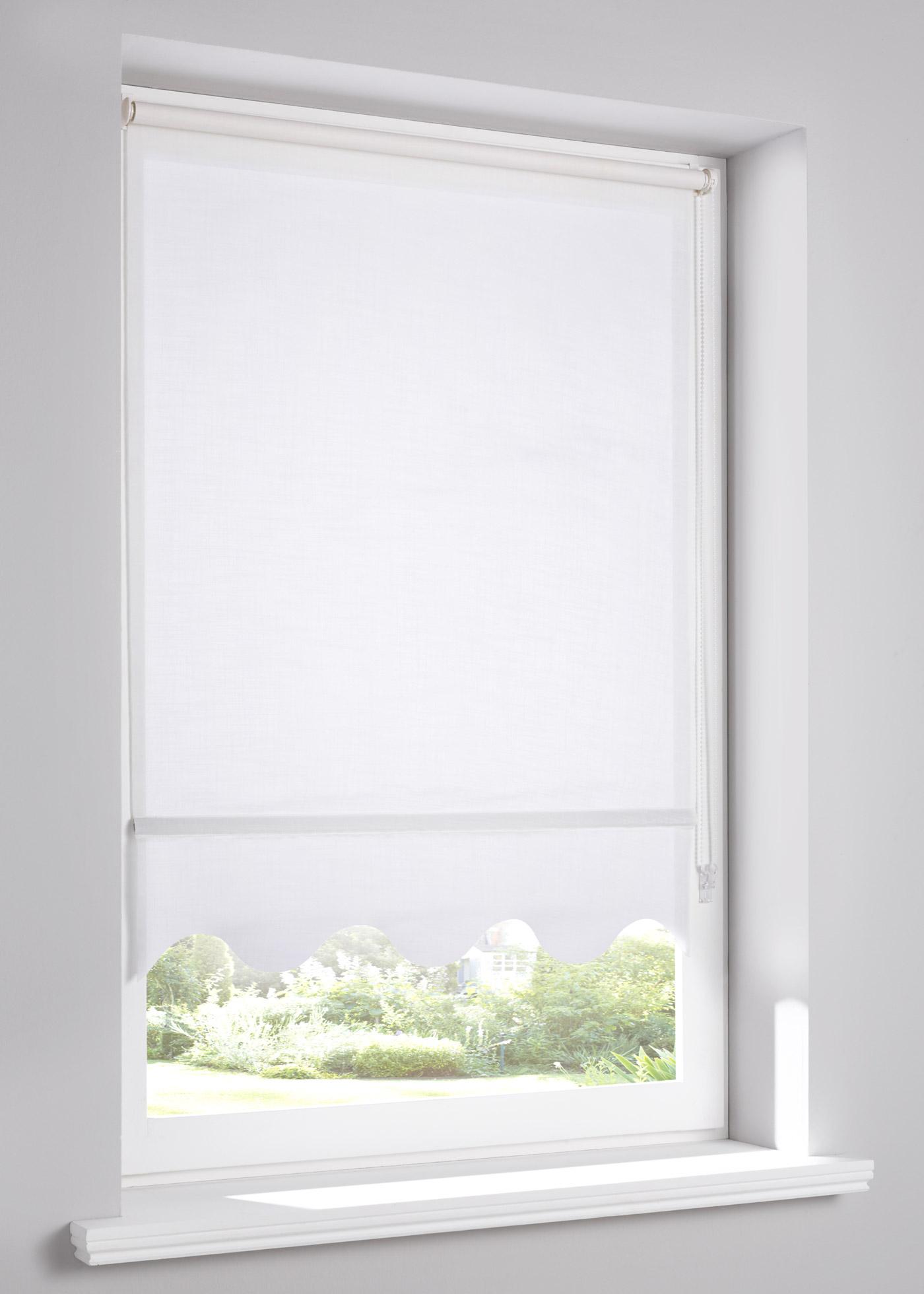 """Store enrouleur occultant aspect lin avec bordure ondulée, hauteur modulable en continu à l""""aide d""""une chaînette à monter à droite ou à gauche au choix, pose facile avec supports à clipser directement sur le cadre de la fenêtre (convient pour un"""
