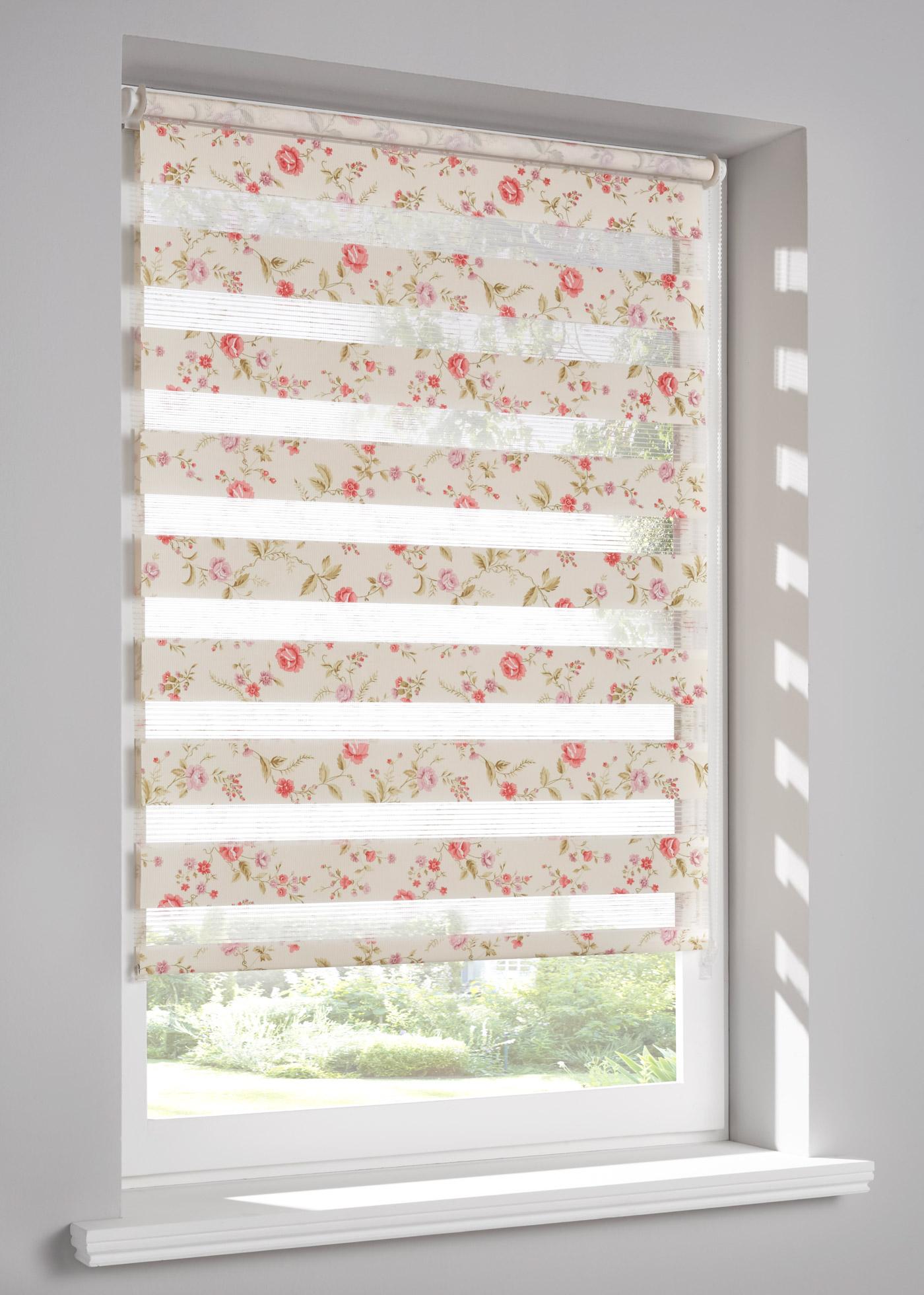 """Store double imprimé, double face, protège de la lumière sans occulter, pose facile à l""""aide de supports de fixation à clipser directement sur le cadre de la fenêtre (épaisseur de châssis jusqu""""à 1,6 cm), chaînette à droite, deux bandes de tissu"""