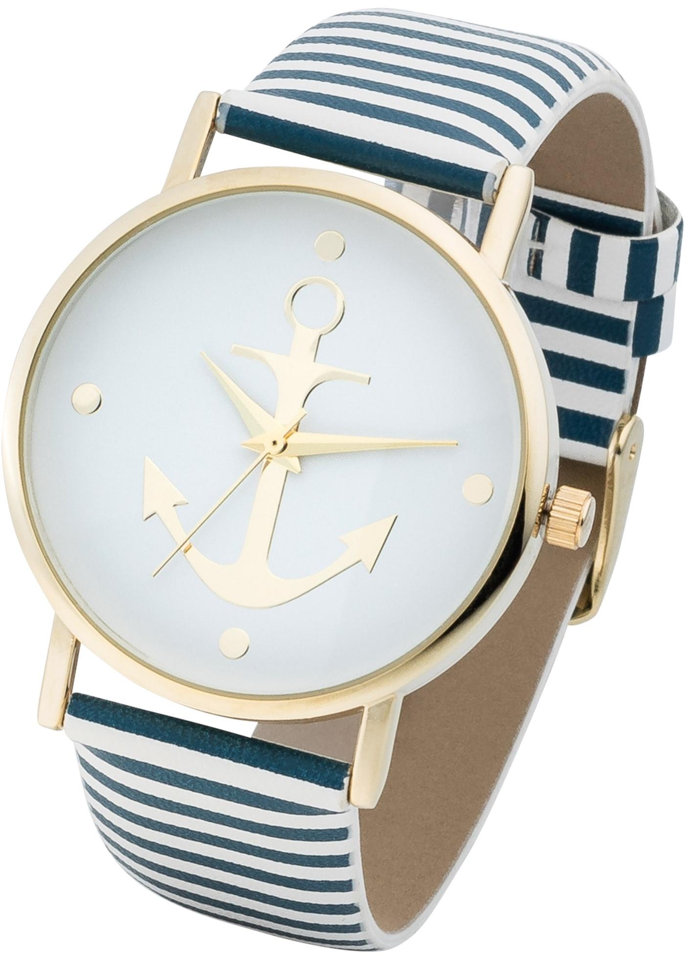 """Une magnifique montre au look marin. Cadran orné d""""un motif ancre. Prix comprenant éco-participation (F)=0,01€ ou recupel (B) =0,05€."""