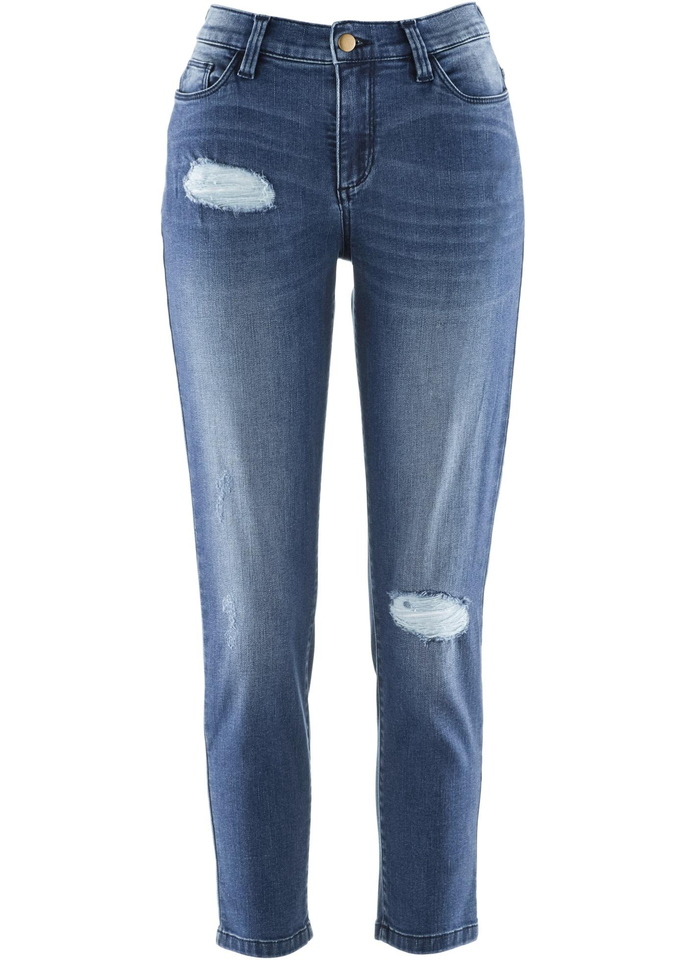 Jean Girlfriend 5 poches, look usé, taille semi-élastiquée au dos, délavage mode, longueur 7/8. Long. entrejambe env. 65 cm, lavage machine.