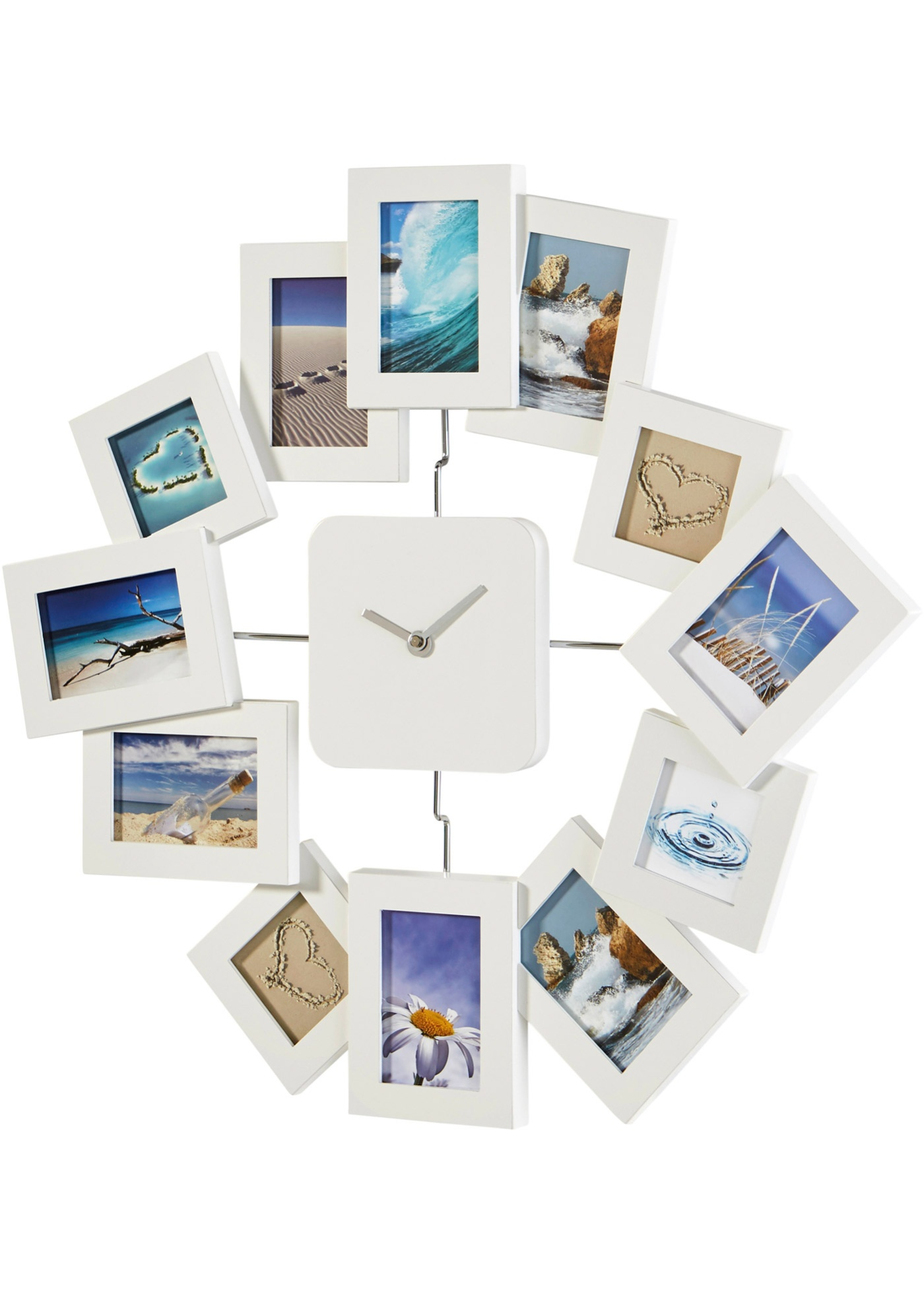 Cadre photo pêle-mêle et horloge 2en1 Mila