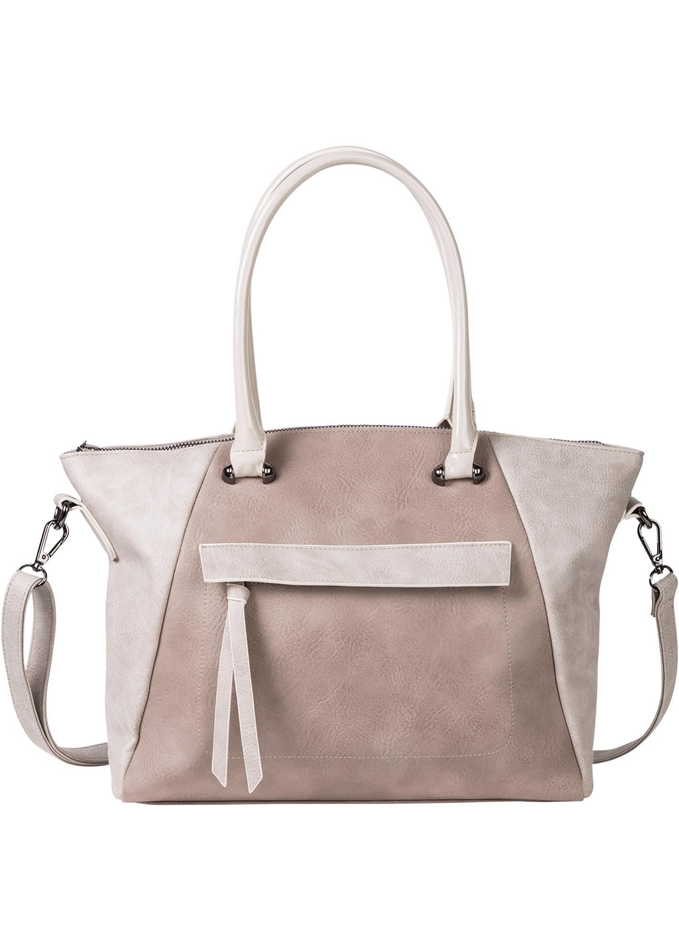 Moderne et chic pour les amatrices de tendance, tel se présente le sac à main bicolore de bpc. Le mélange de matières aux anses et sur le sac ainsi que la forme trapèze lui donnent un look stylé !