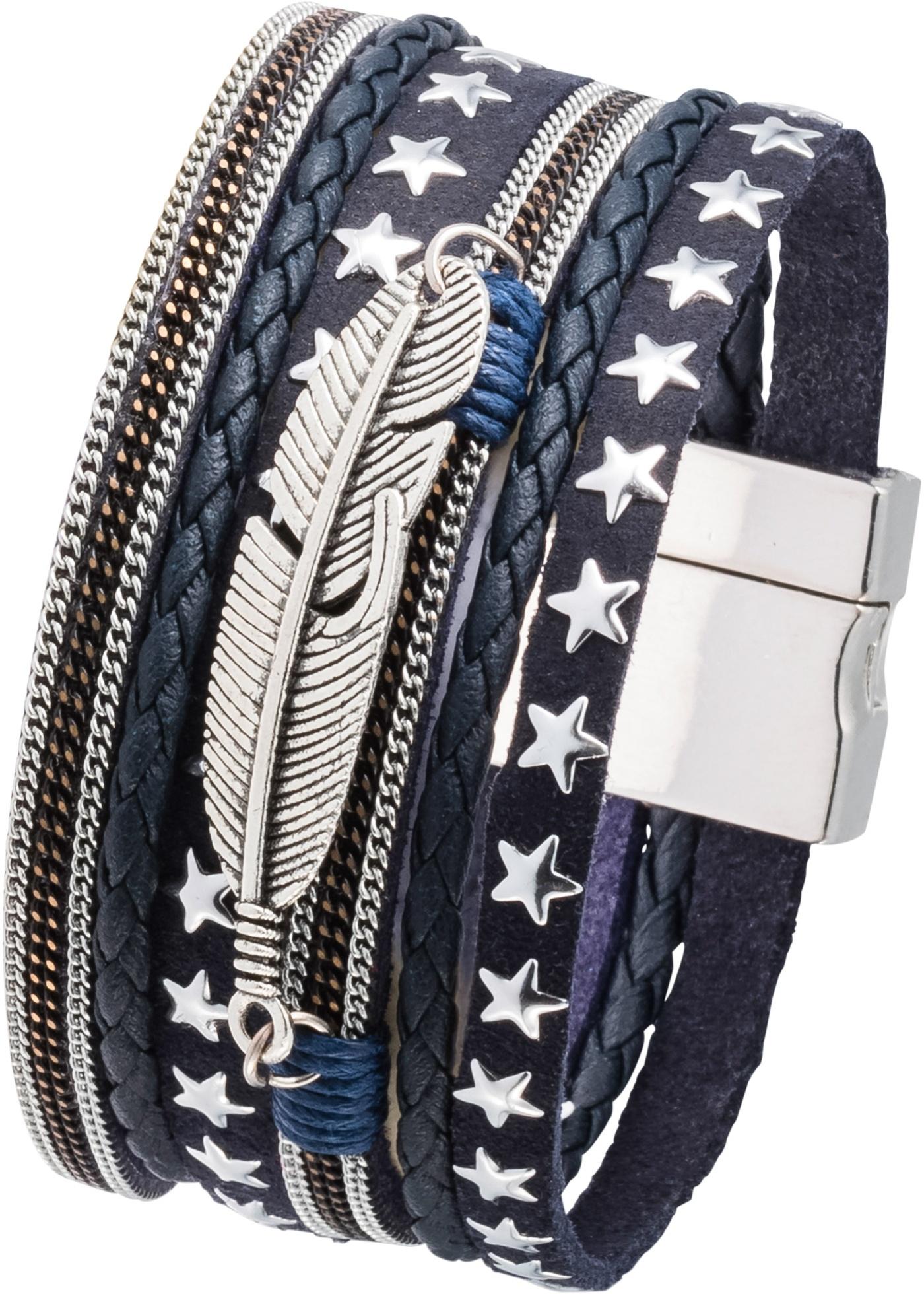 Bracelet composé de jolis éléments variés qui se combinent harmonieusement. La plume en métal complète le look. Fermoir magnétique.