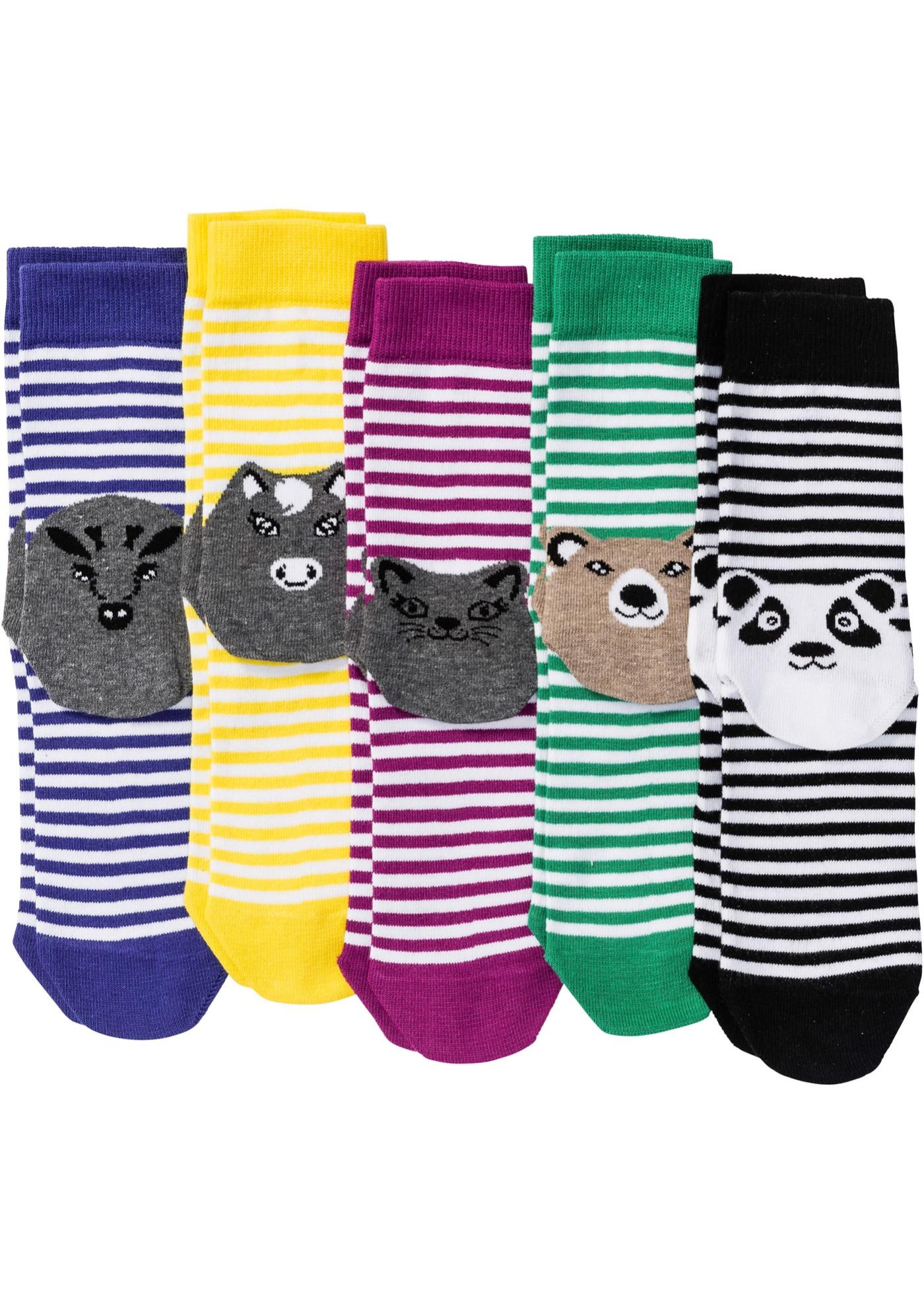 Lot de 5 paires de chaussettes rayées à motif animal