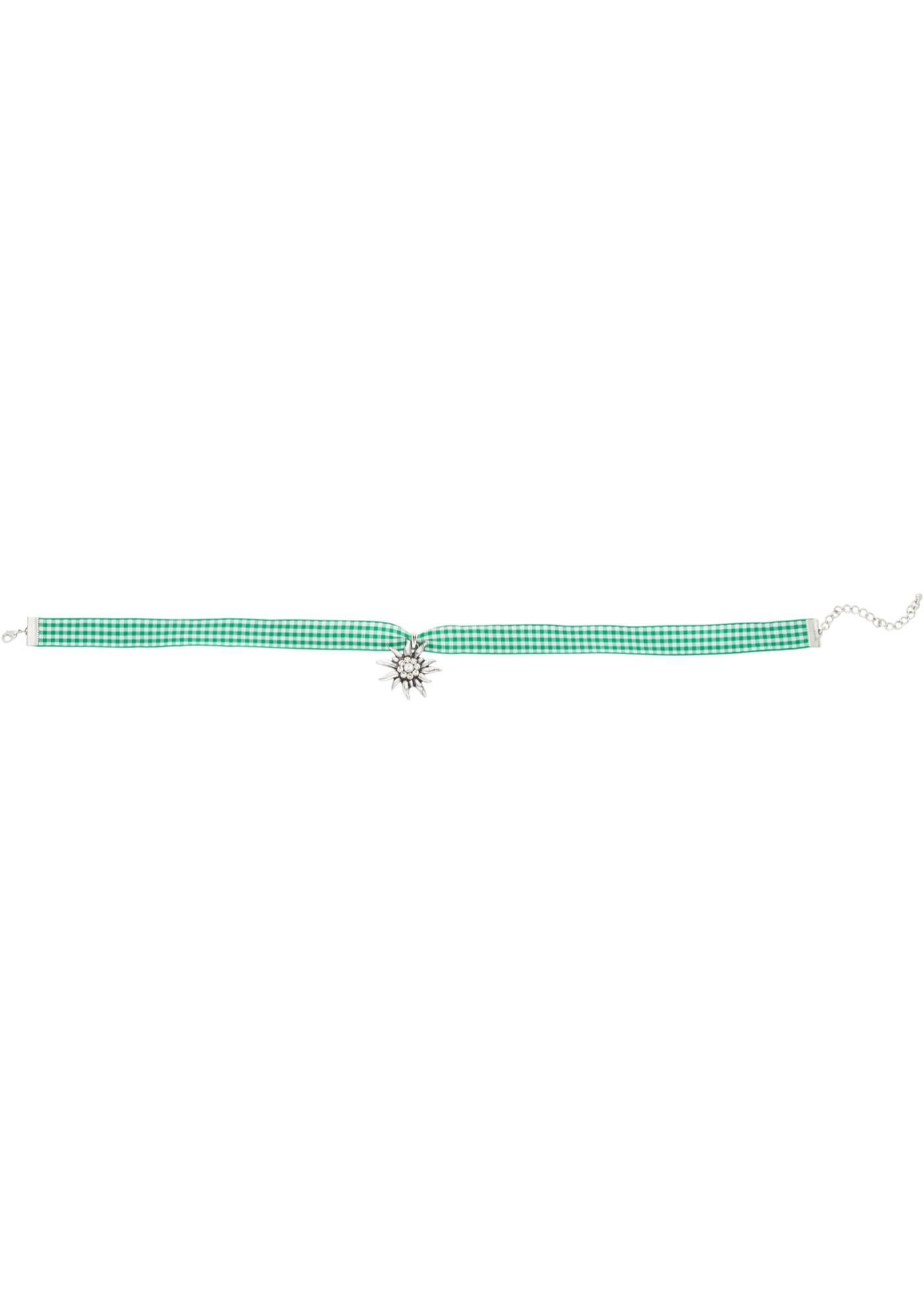 Complétez votre look bavarois traditionnel en beauté ! Collier en ruban textile agréable à porter. Le pendentif en filigrane est orné de perles. Avec chaînette rallonge.