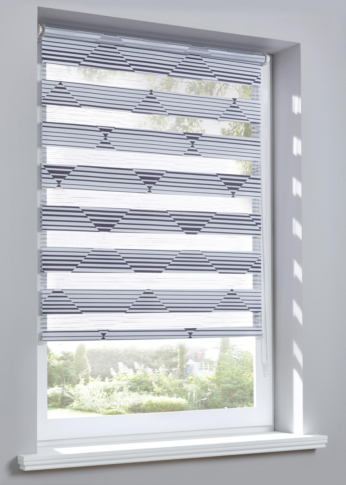 """Store double opaque, imprimé avec des motifs triangulaires modernes, pose facile - sans perçage - se clipse directement sur le cadre de la fenêtre (épaisseur de châssis jusqu""""à 1,6 cm), cordon sur la droite, deux bandes de tissu parallèles se superpo"""