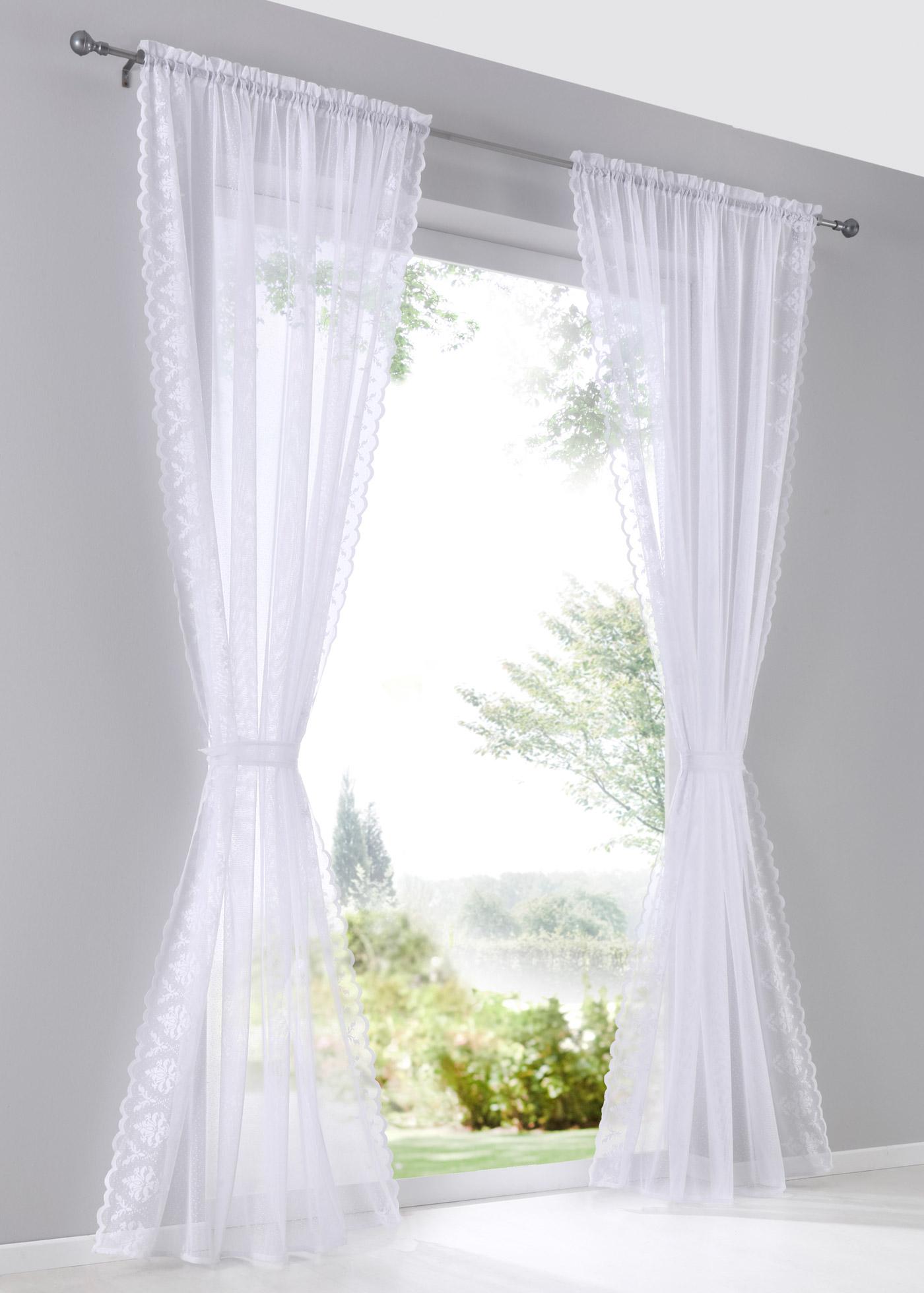 Voilage transparent en tissu jacquard, dimensions = dimensions du tissu.